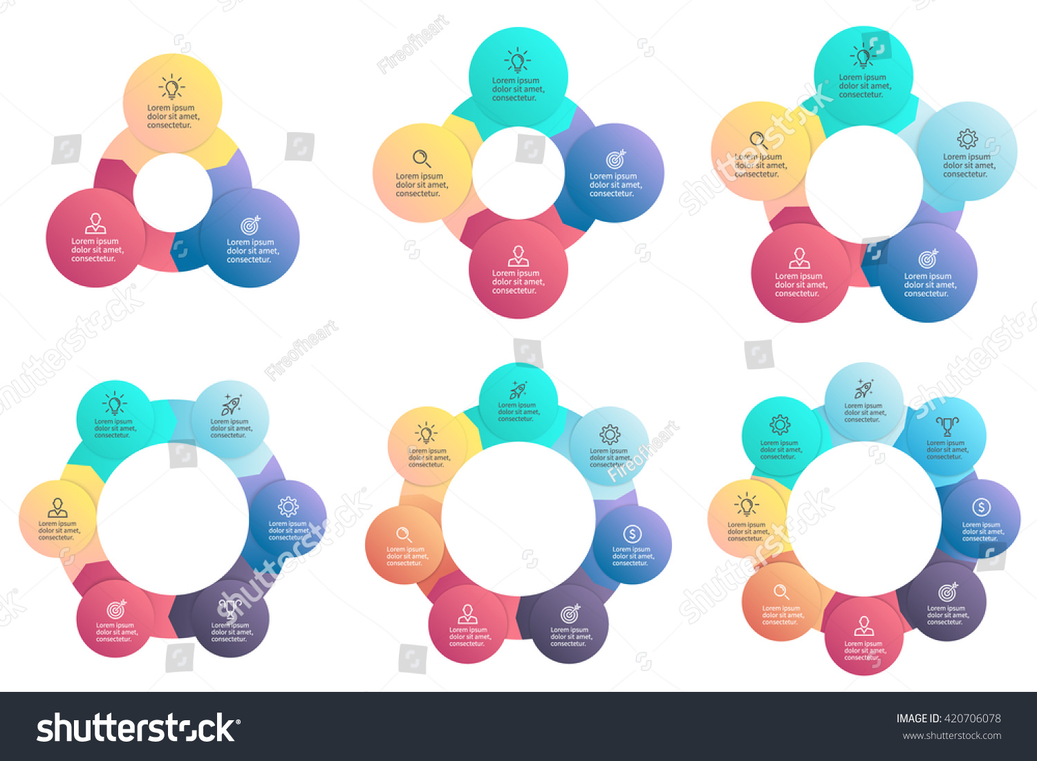 Business infographics Circular charts diagrams with 3 4 5 6 7 8 steps options parts processes Vector templates
