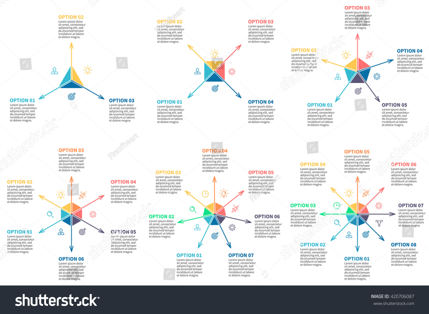 Outline infographic multidirectional arrows Radial charts diagrams with 3 4 5 6 7 8 steps options parts processes Vector templates