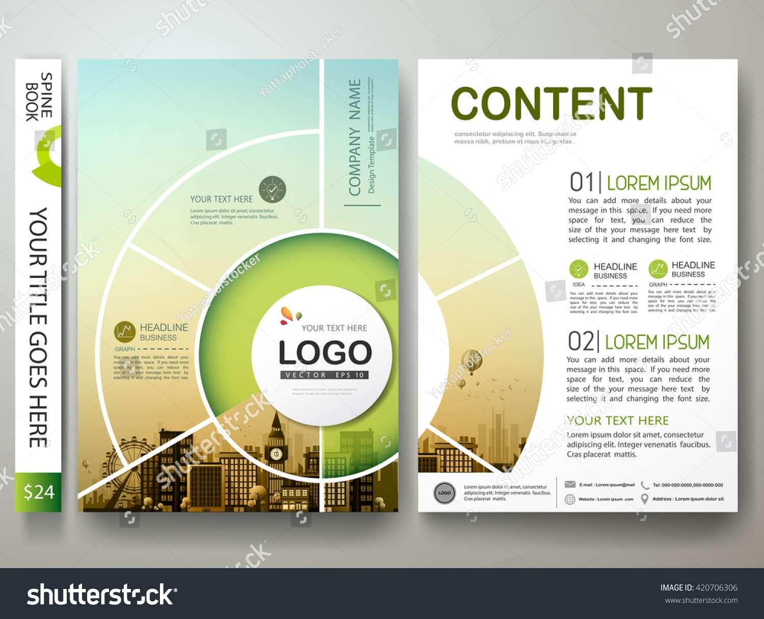 brochure design template vector flyers report のベクター画像素材