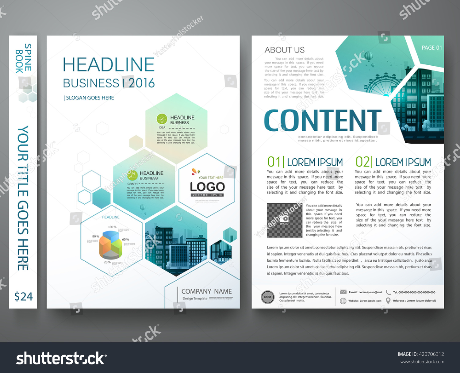 Brochure design template vector flyers annual stock vector for Company brochure design templates