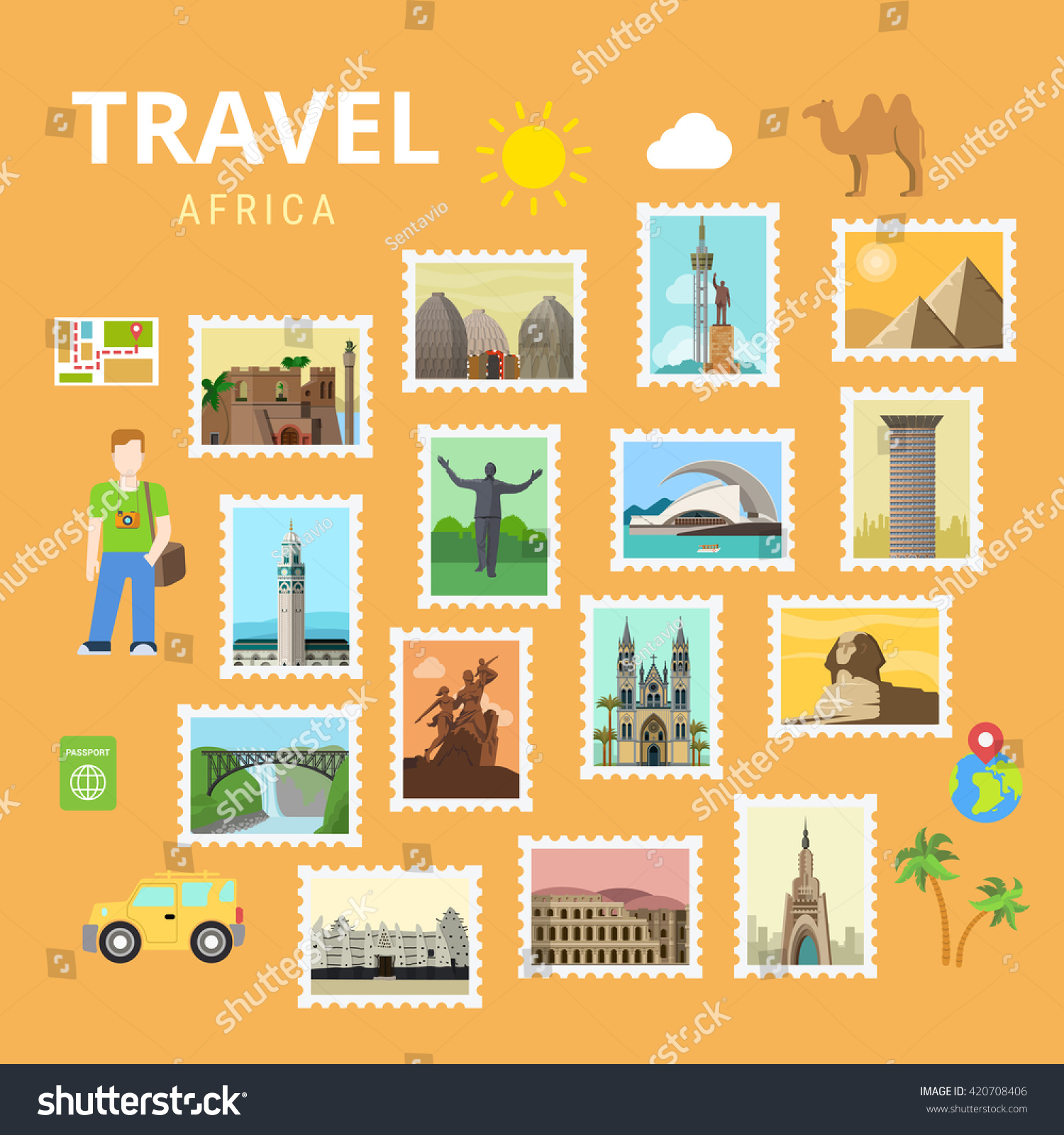 Travel Africa Egypt Pyramid Sphinx Map Stock Vector Royalty Free 420708406