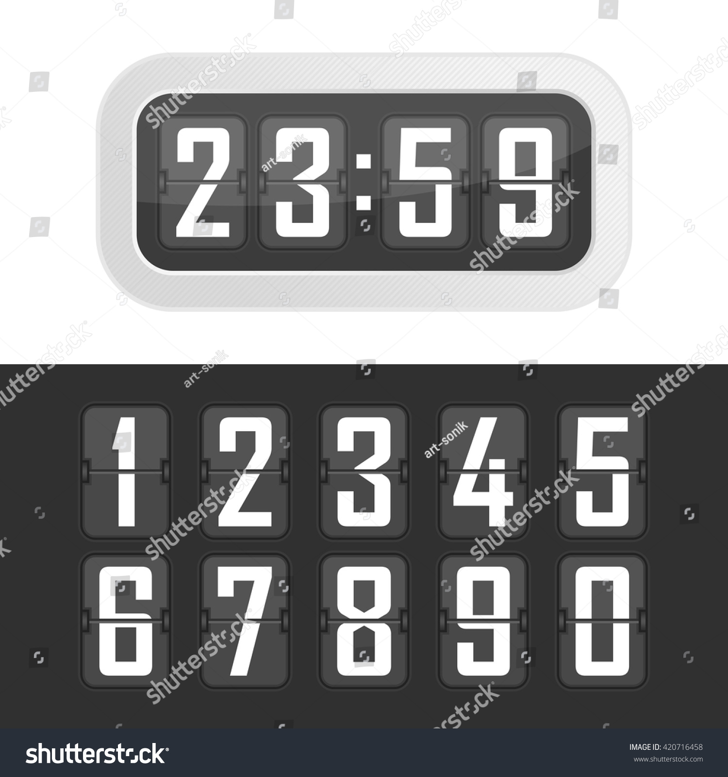 Vector illustration flip clock wall flipping stock vector vector illustration flip clock wall flipping clock and number counter template and all numbers with amipublicfo Choice Image