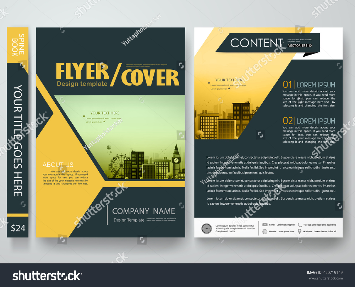 Business Book Cover Vector ~ Flyers design template vector brochure report stock