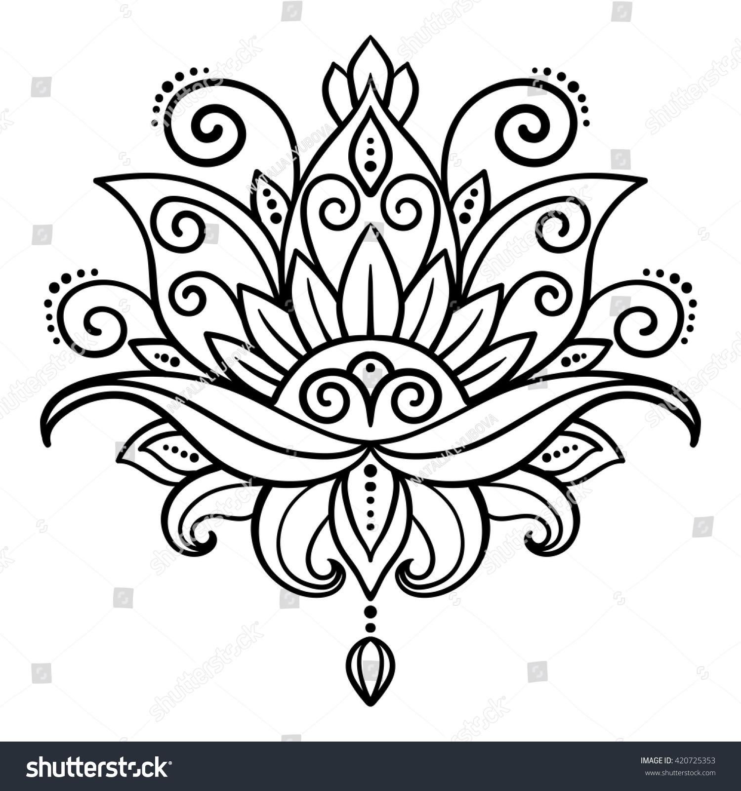 Vetor Stock De Vetor Abstrato Estilo Oriental Flor Lotus