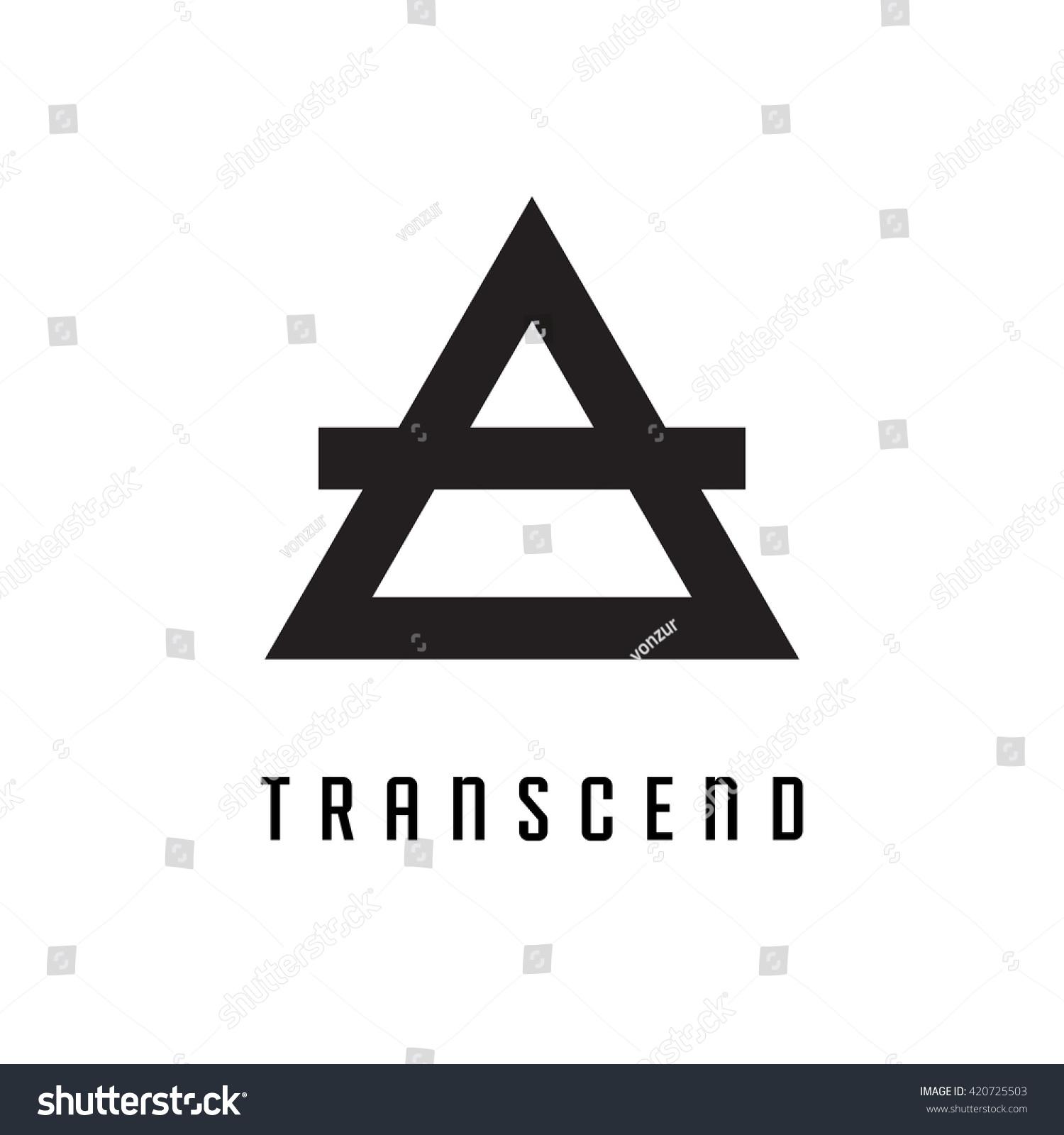 Triangle Logo Transcend Minimal Geometry White Stock Vector Royalty