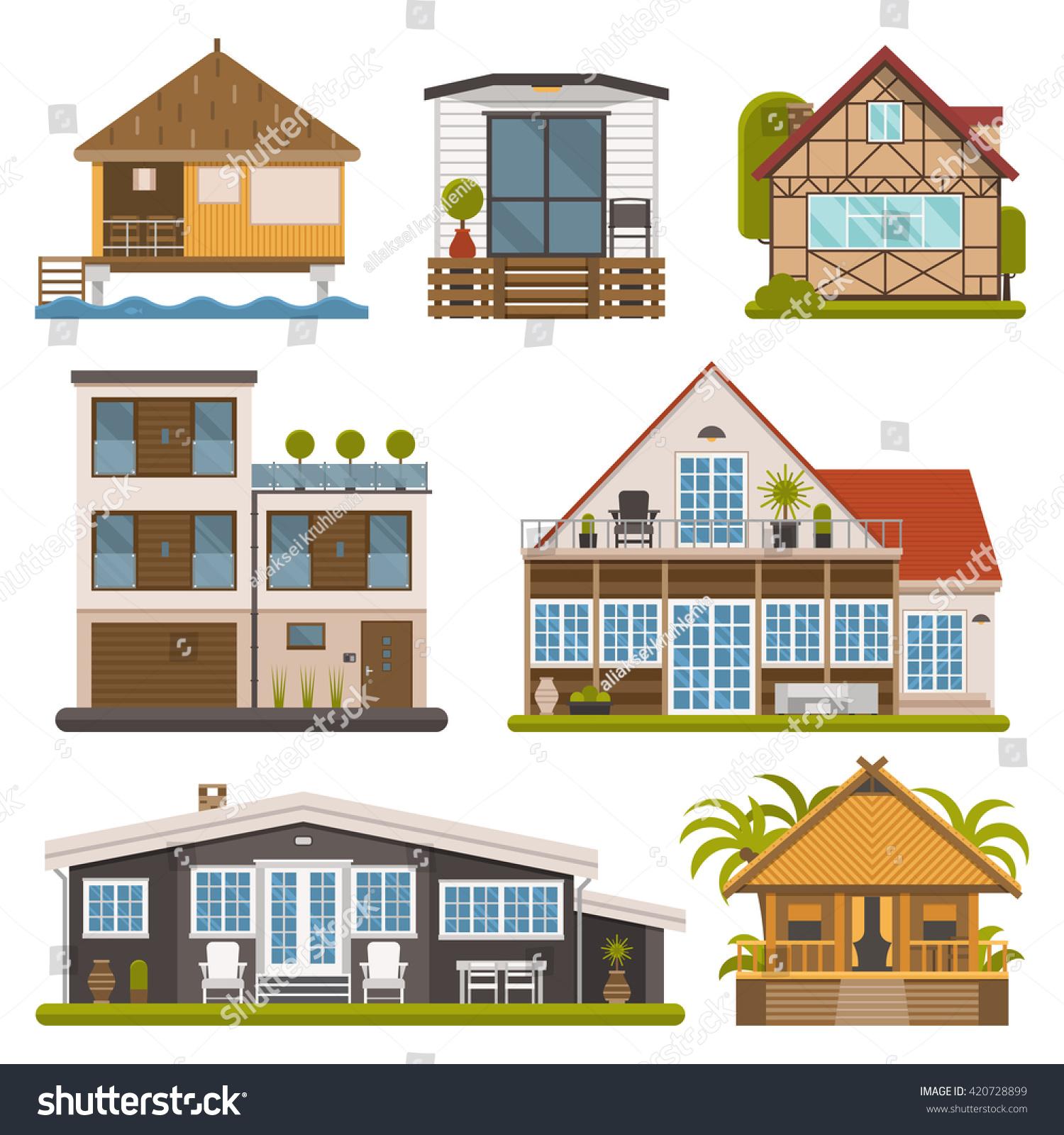 Rent House Set Modern Apartments Suites Stock Vector