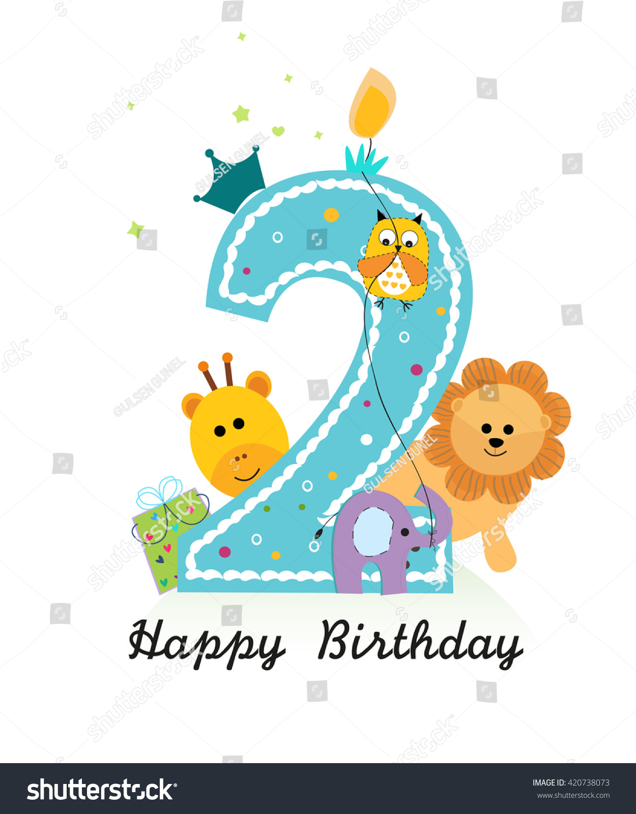 Happy Second Birthday Animals Baby Boy Vector 420738073 – Second Birthday Cards
