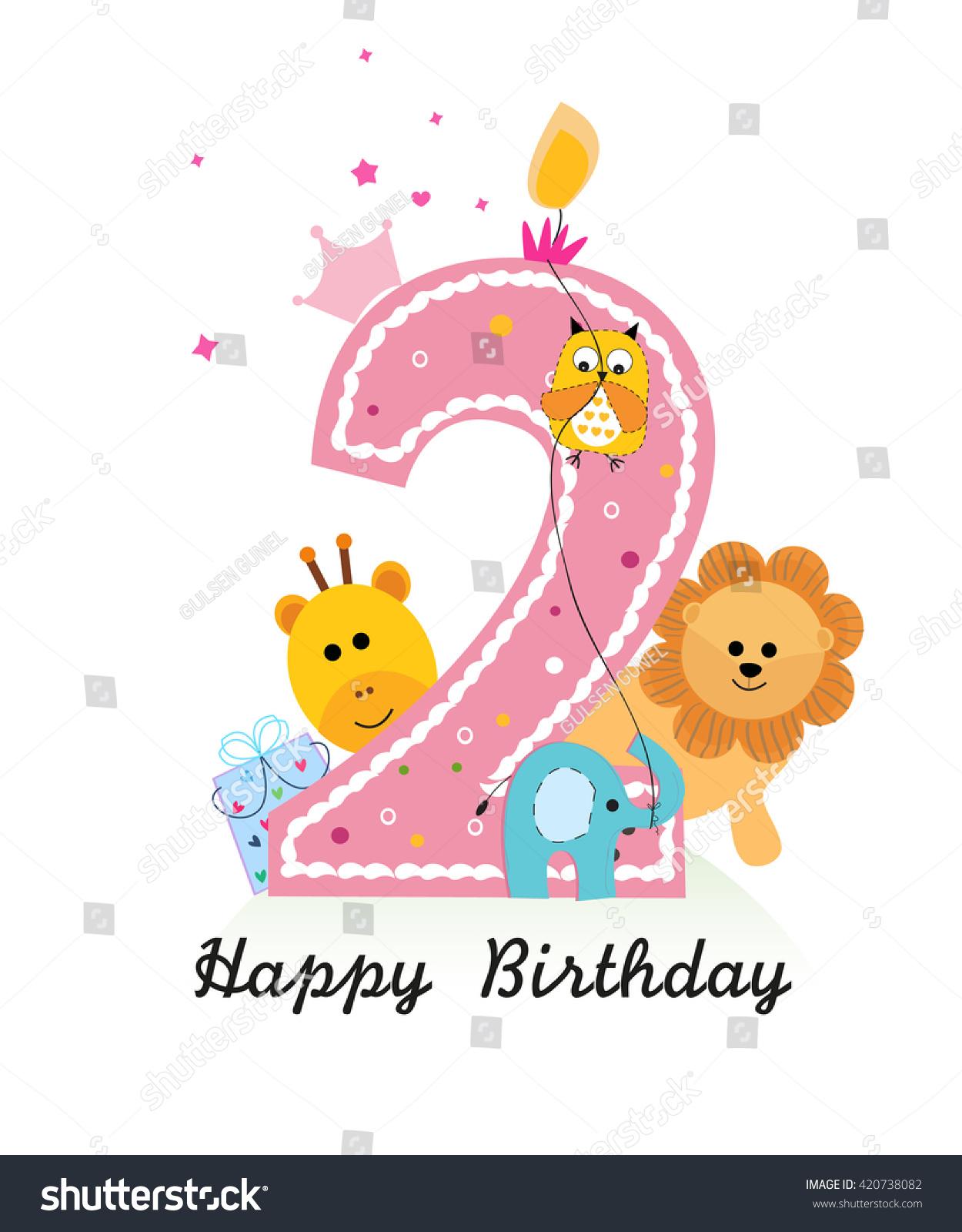 Happy Second Birthday Animals Baby Girl Stock Vector