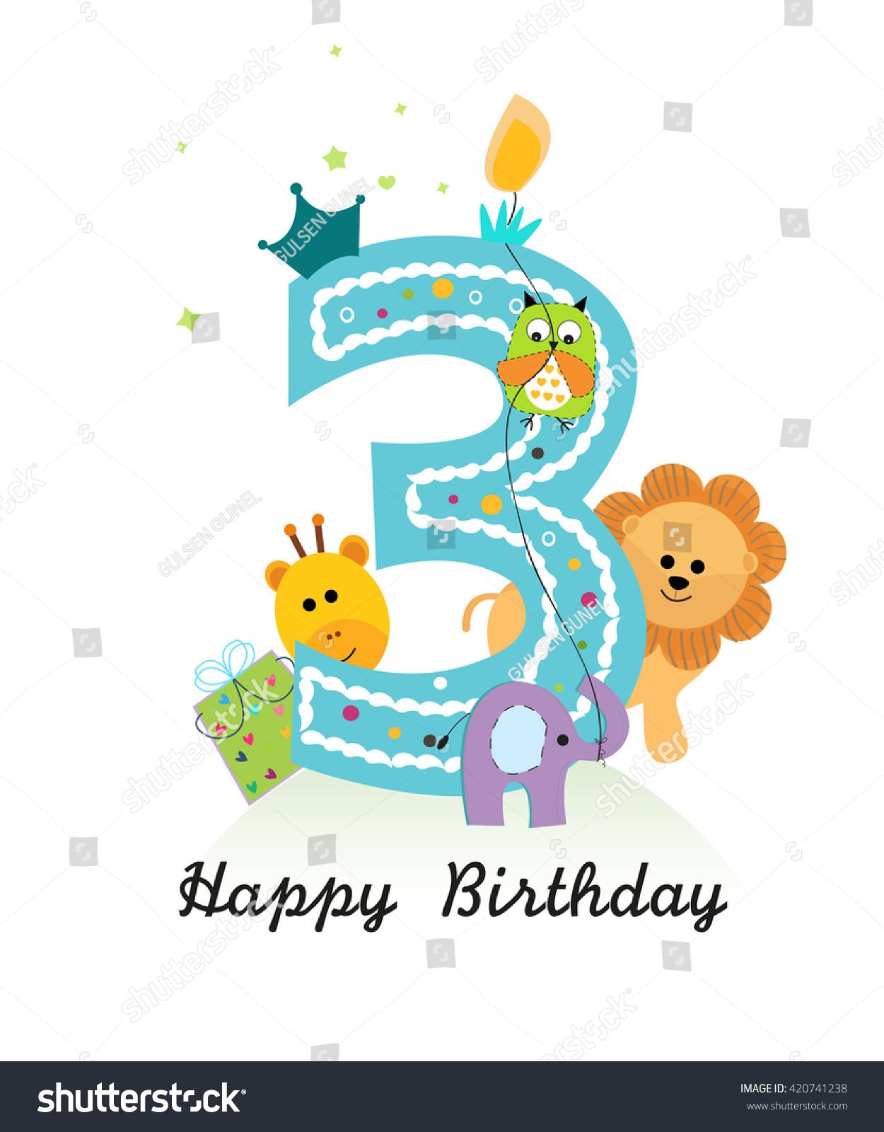 Happy Third Birthday Animals Baby Boy Stock Vector