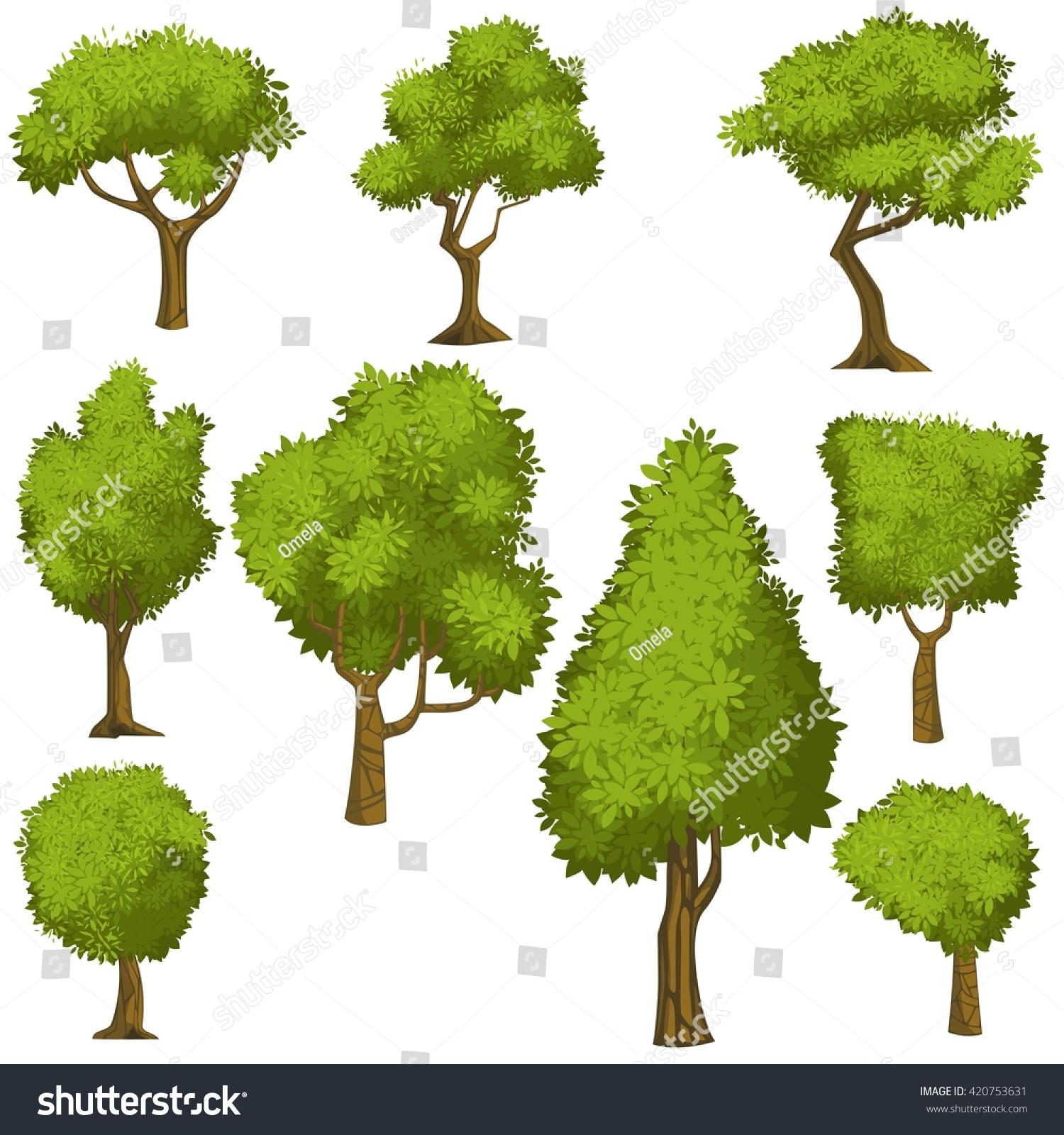 set funny cartoon trees green bushes stock vector 420753631