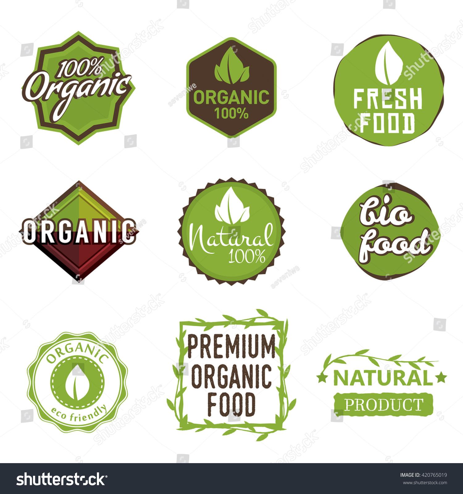 Set Organic Food Labels 100 Organic Stock Vector Royalty Free 420765019