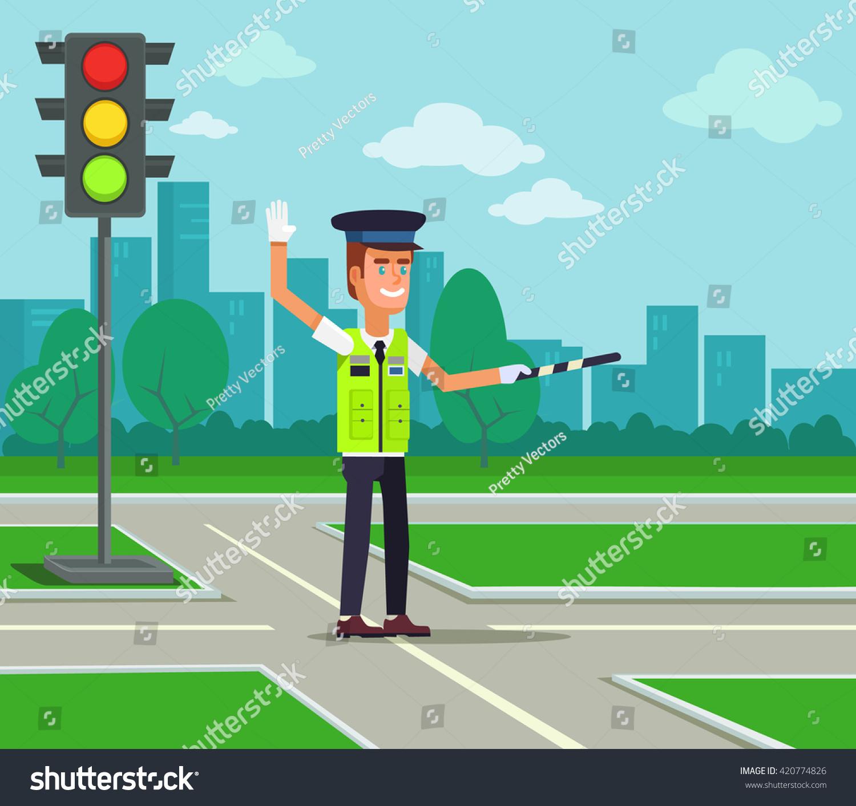 Traffic Policeman Vector Flat Cartoon Illustration Stock