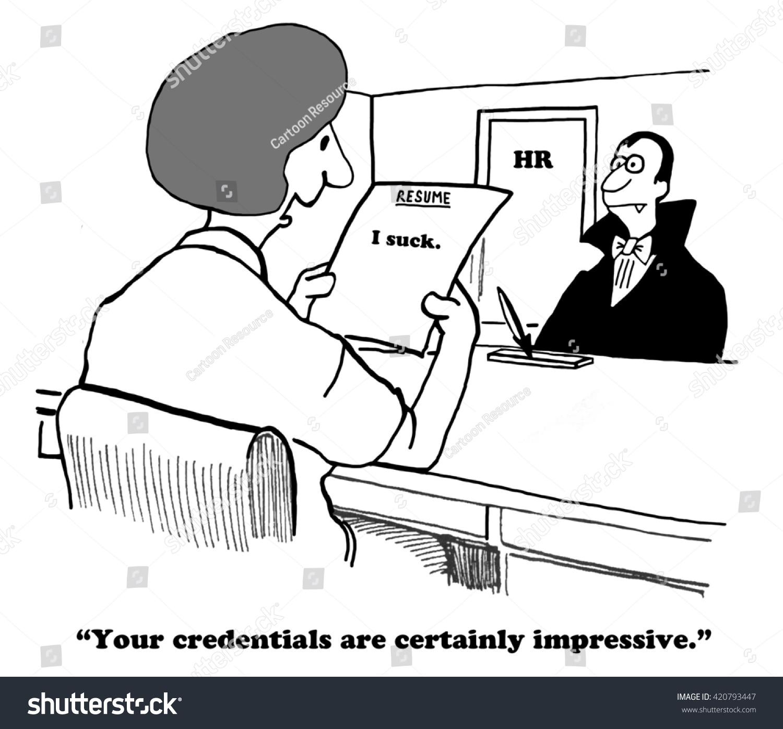 Business Cartoon About Succinct Honest Resume Stock Illustration ...