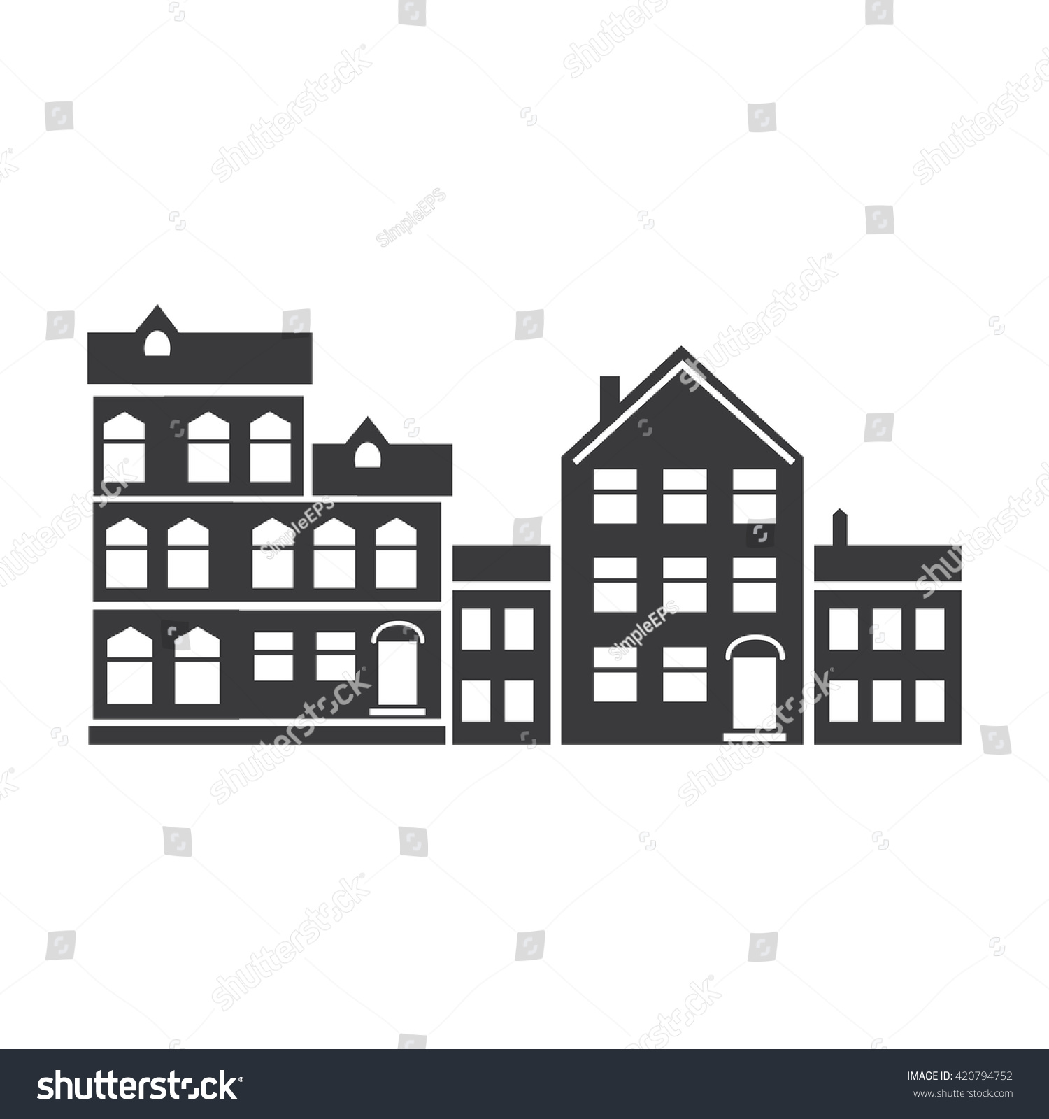 Black and white icon with the image of the building simple illustrations vehicles of high