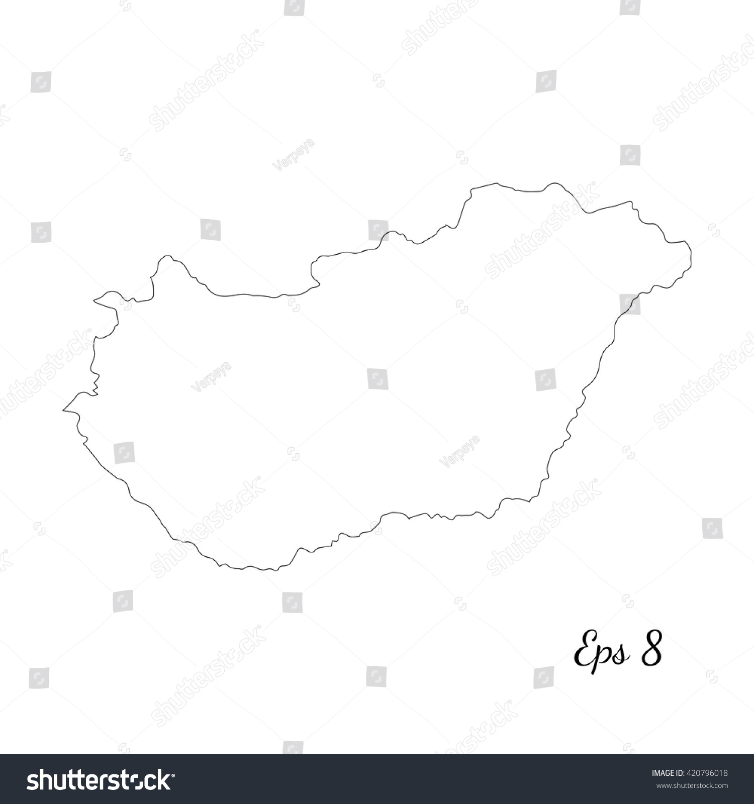 Vector Map Hungary Outline Map Isolated Stock Vector - Hungary blank map
