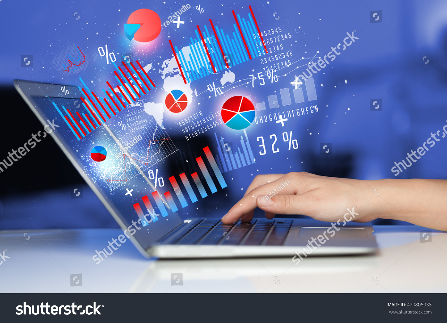 Hand Typing On Modern Laptop Notebook Stock Photo Edit Now