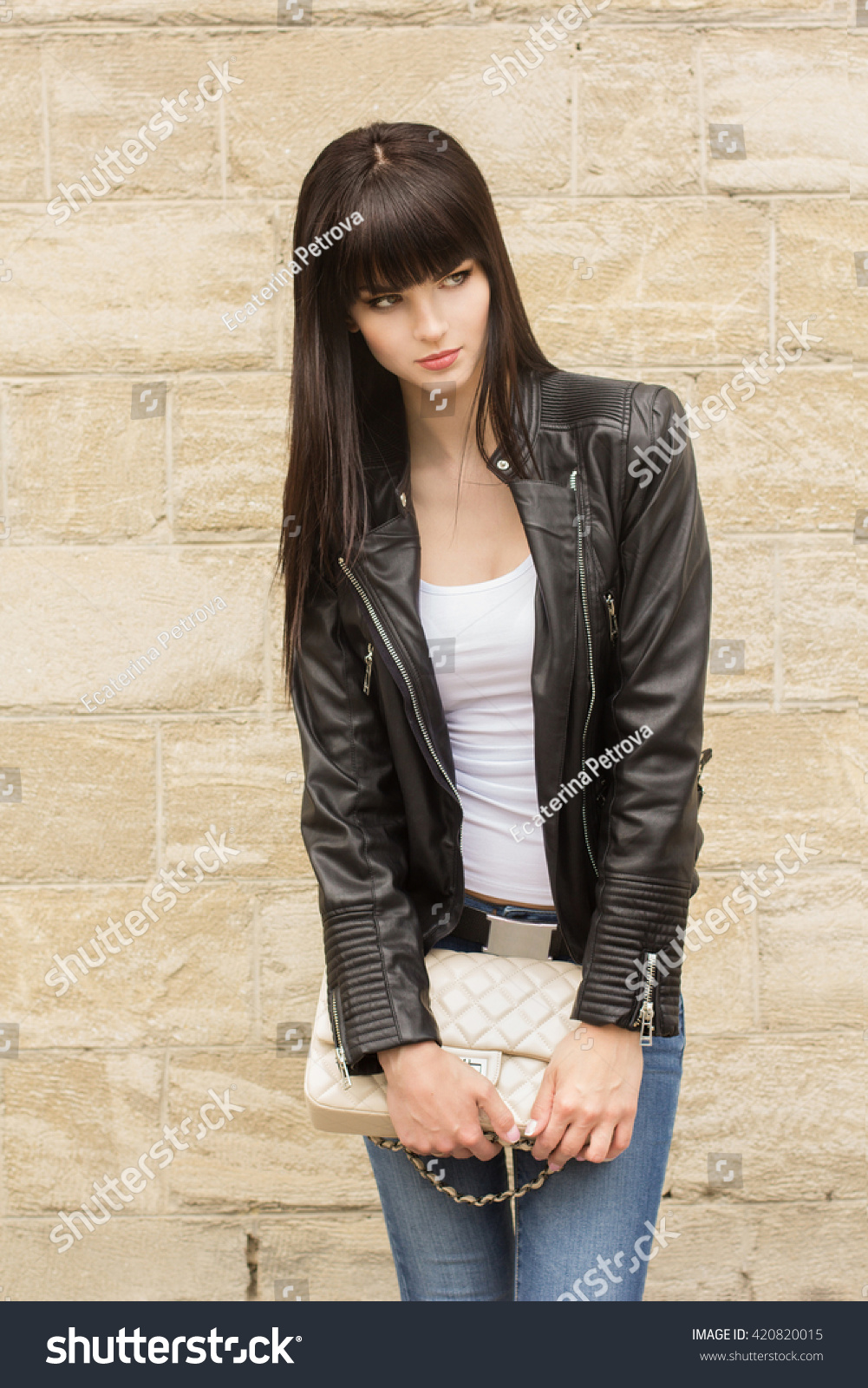Portrait Fashionable Young Girl Casual Black Stock Photo Edit Now