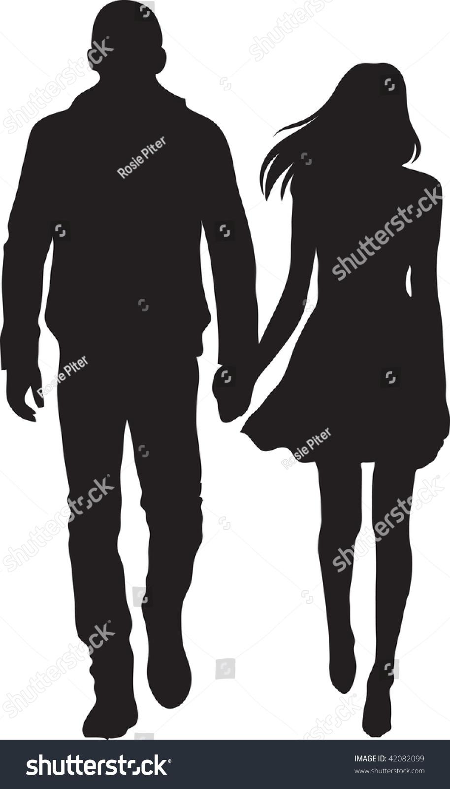 Clip Art Illustration Man Woman Walking Stock Illustration ...