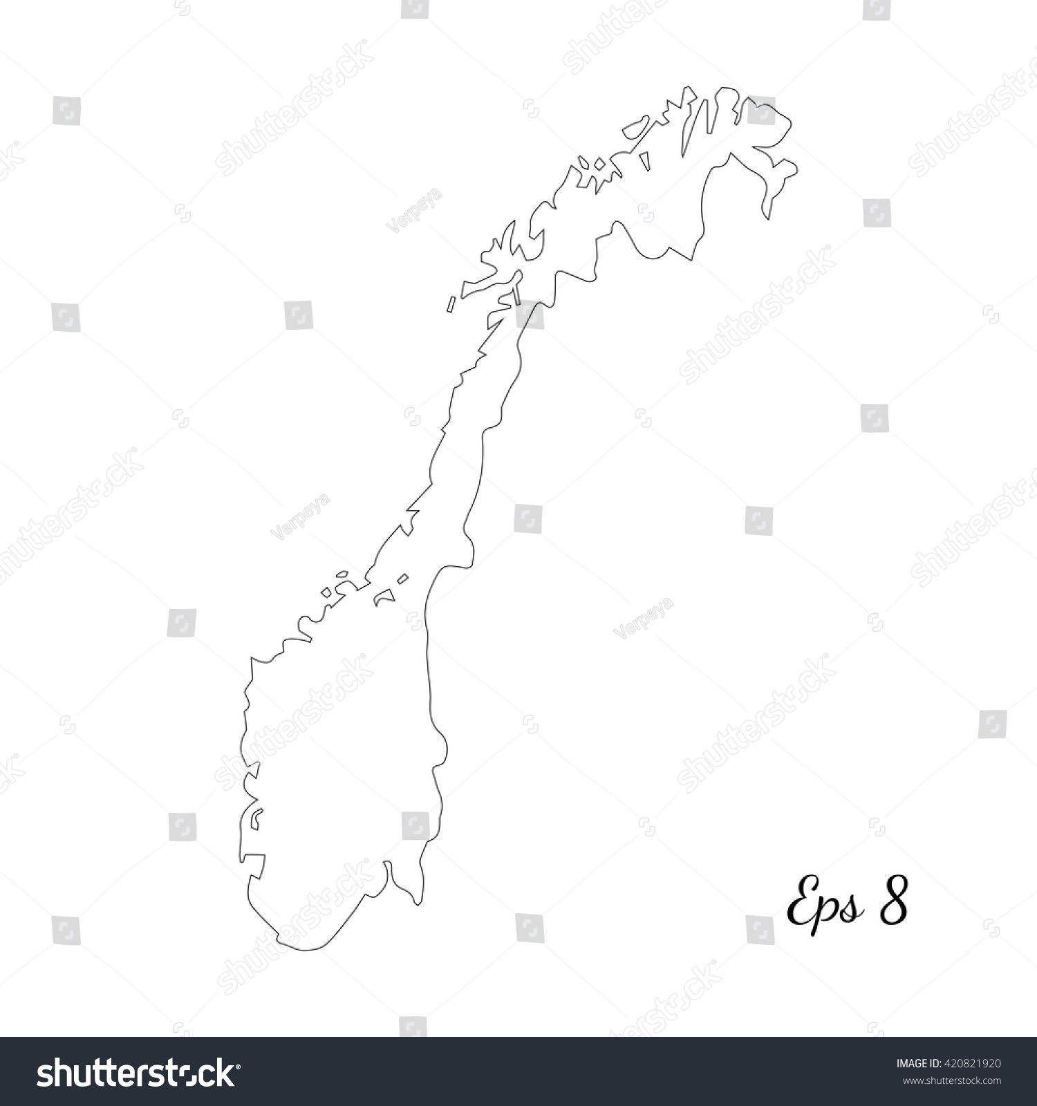 Vector Map Norway Outline Map Isolated Stock Vector - Norway map eps