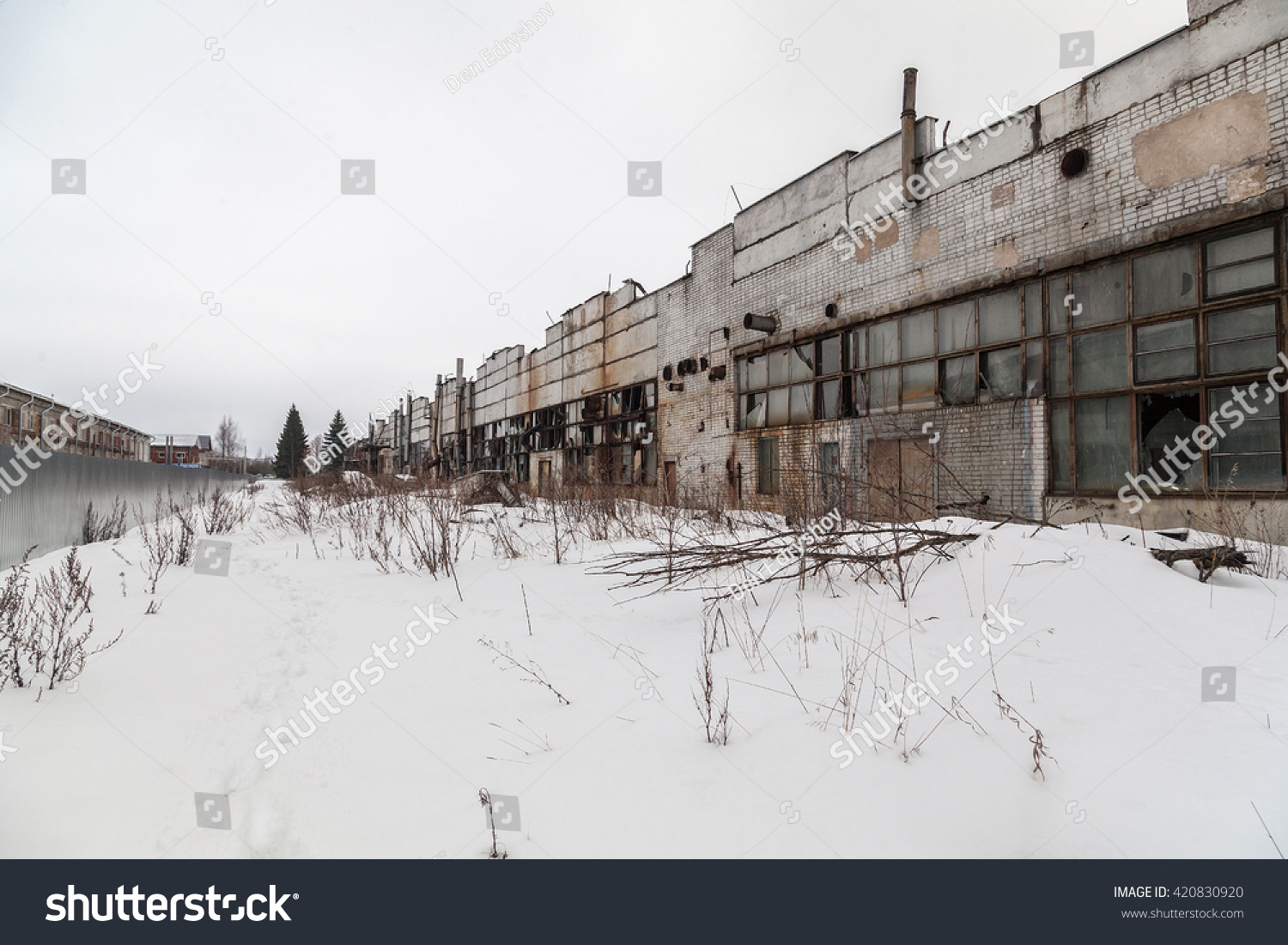 Exterior Old Abandoned Industrial Russian Factory Stock Photo ... for Abandoned Factory Russia  51ane