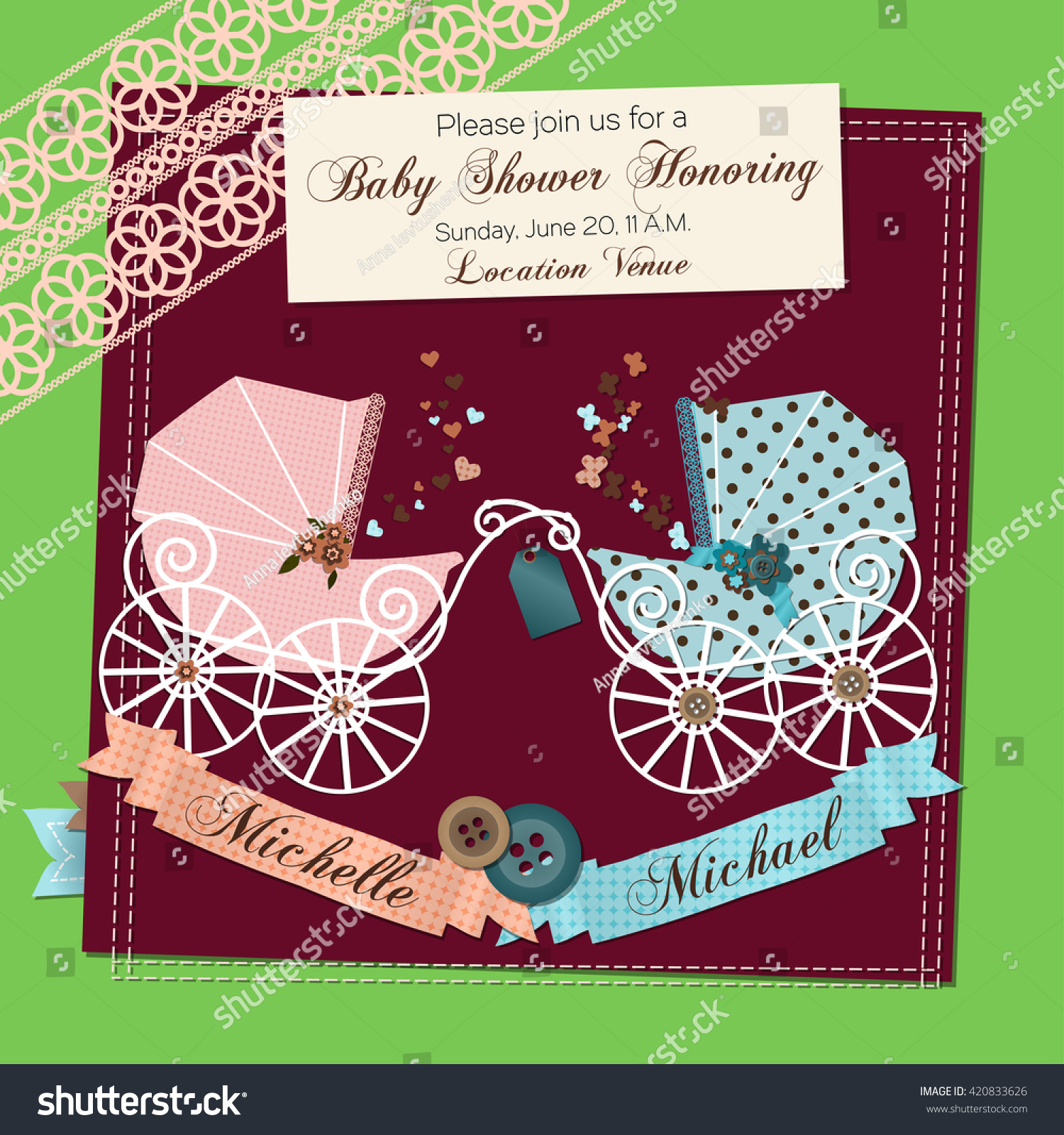 Twins Baby Shower Invitation Template Vector Stock Photo (Photo ...