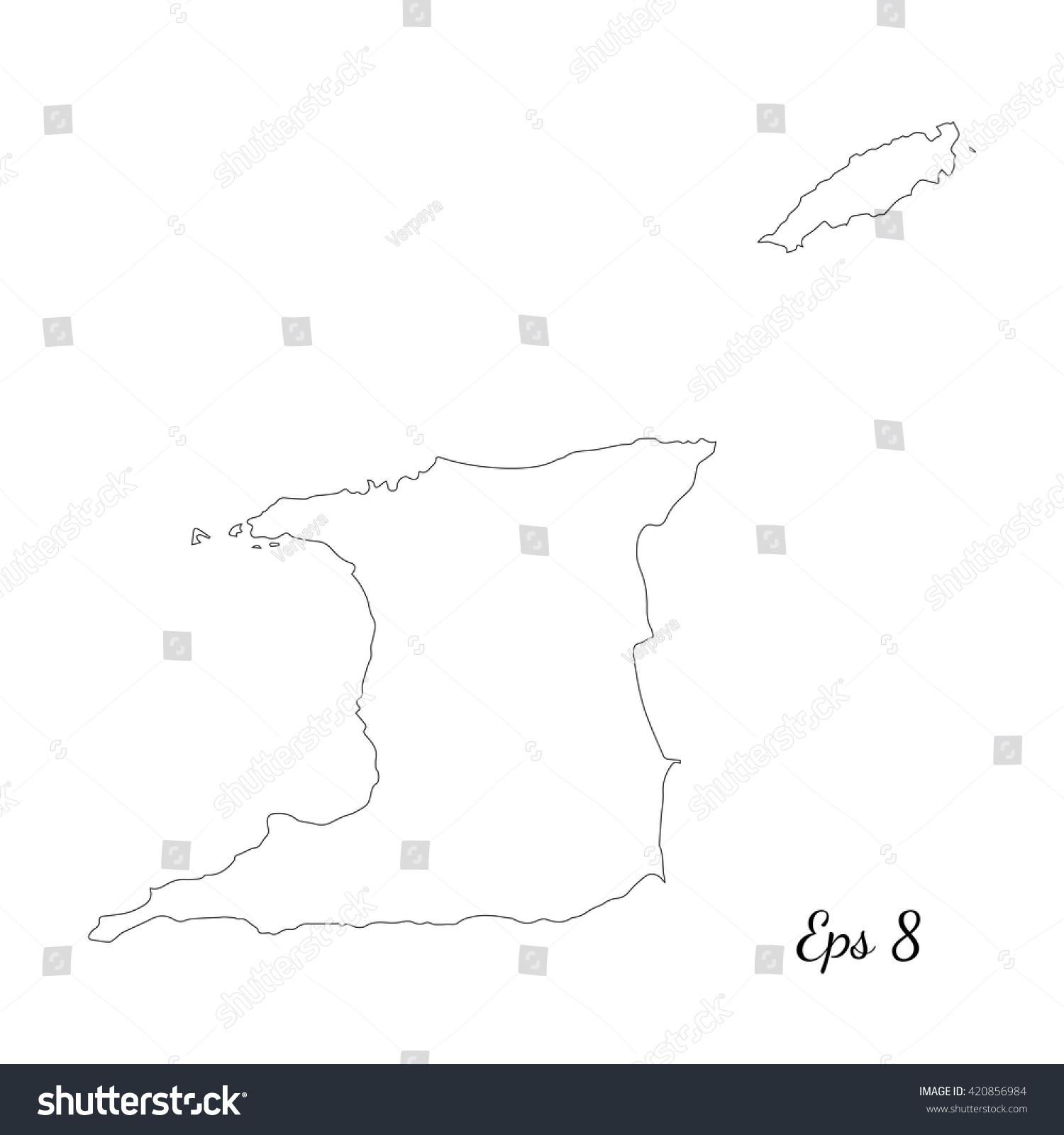 Vector Map Trinidad Tobago Outline Map Stock Vector - Outline map