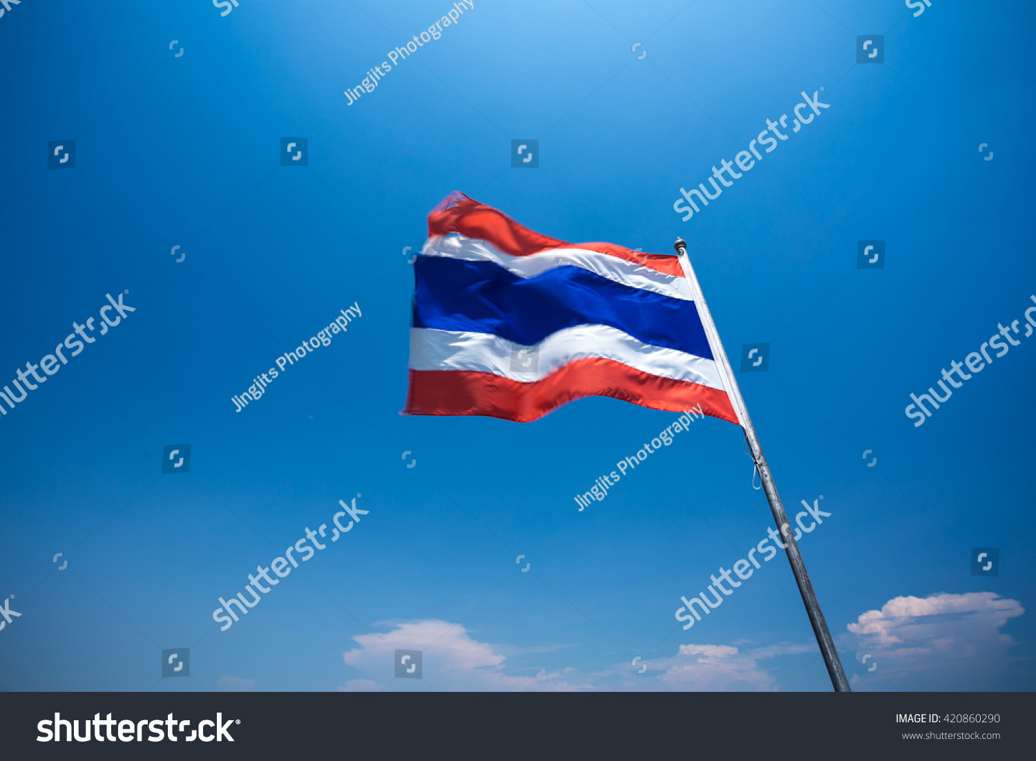 Red White Blue Thailand Flag Blowing By The Strong Wind The