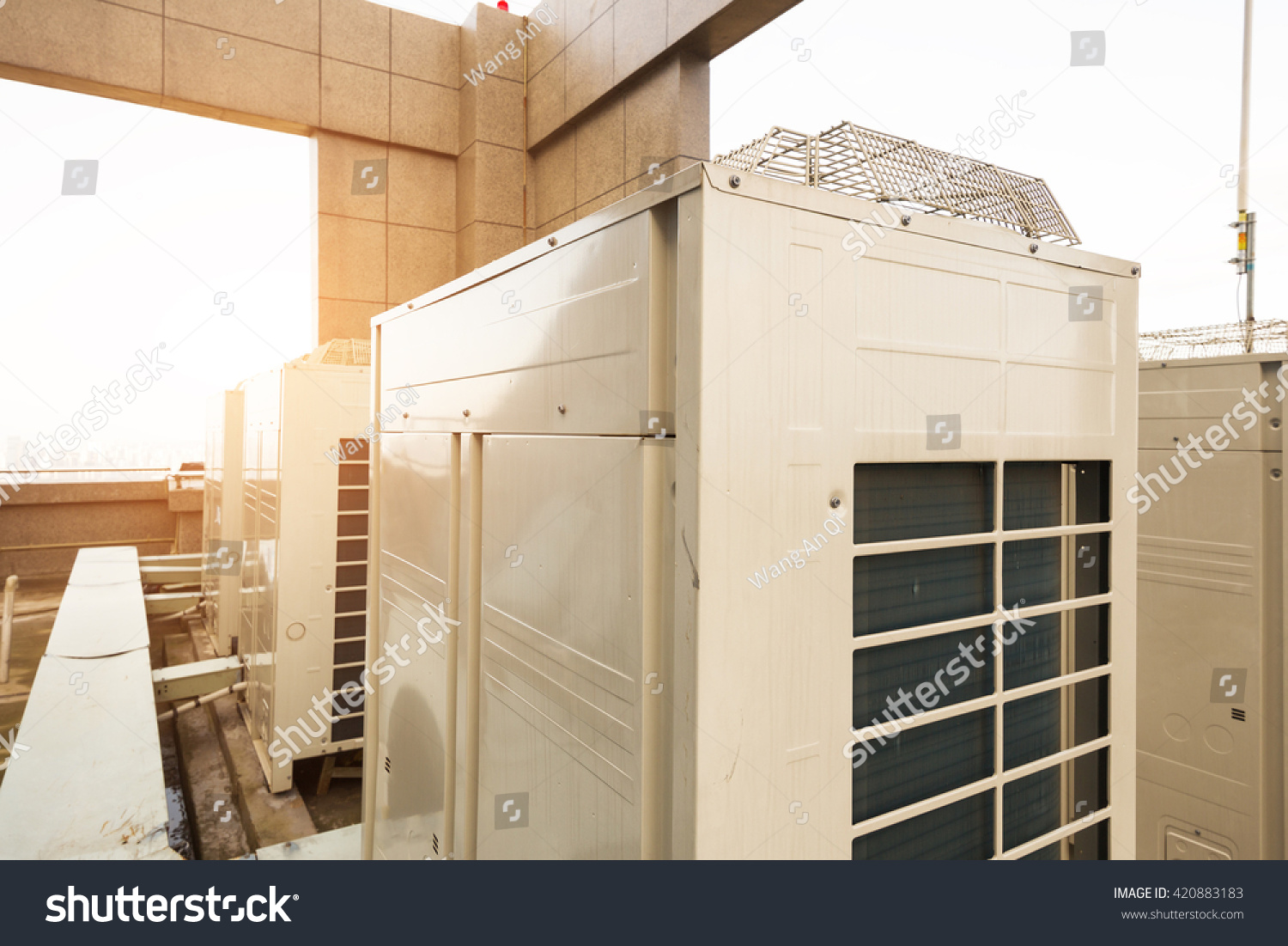 Air conditioning system assembled on top of a building. #91643A