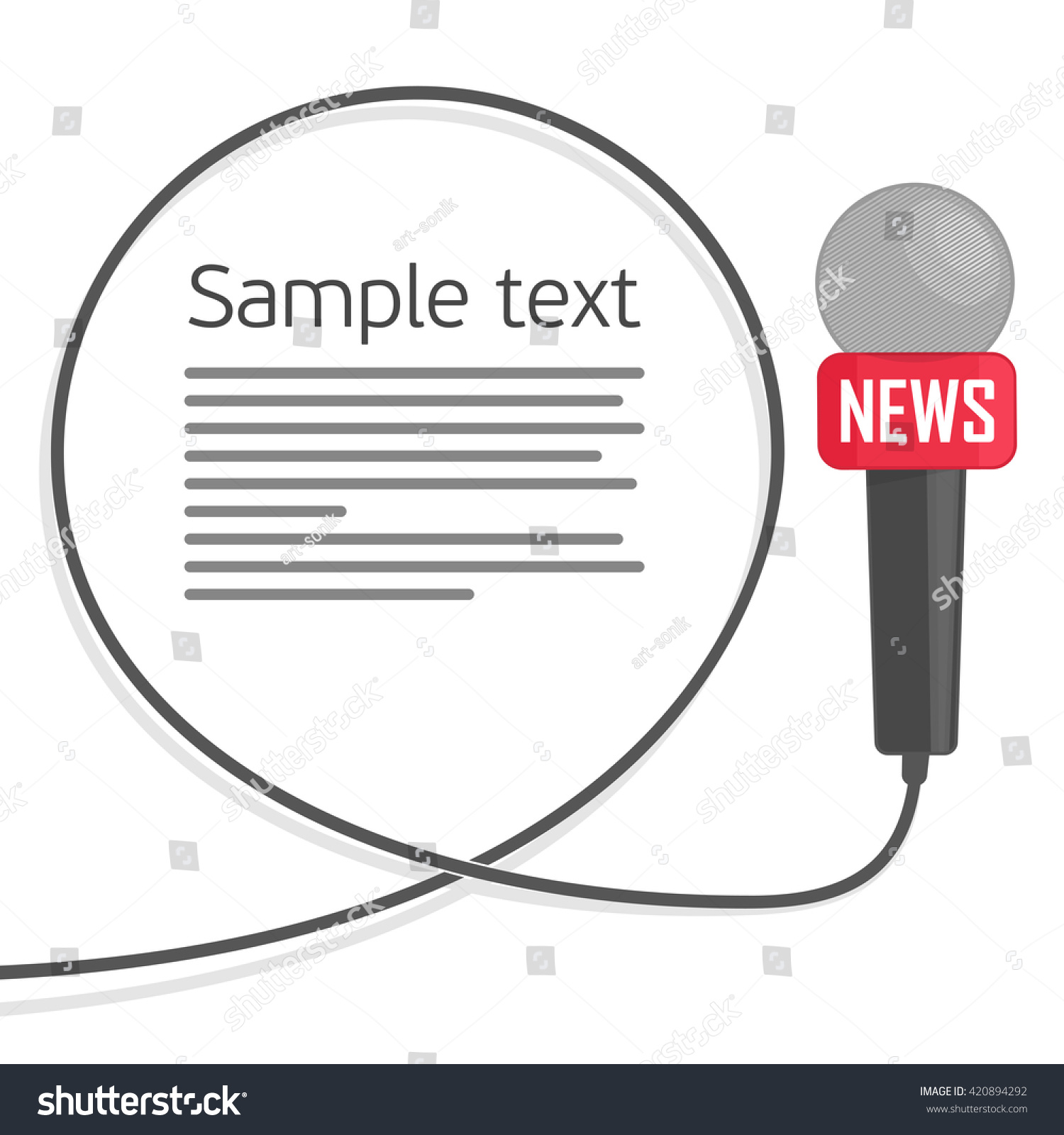 Microphone Wire On White Background Symbol Stock Vector 420894292 ...