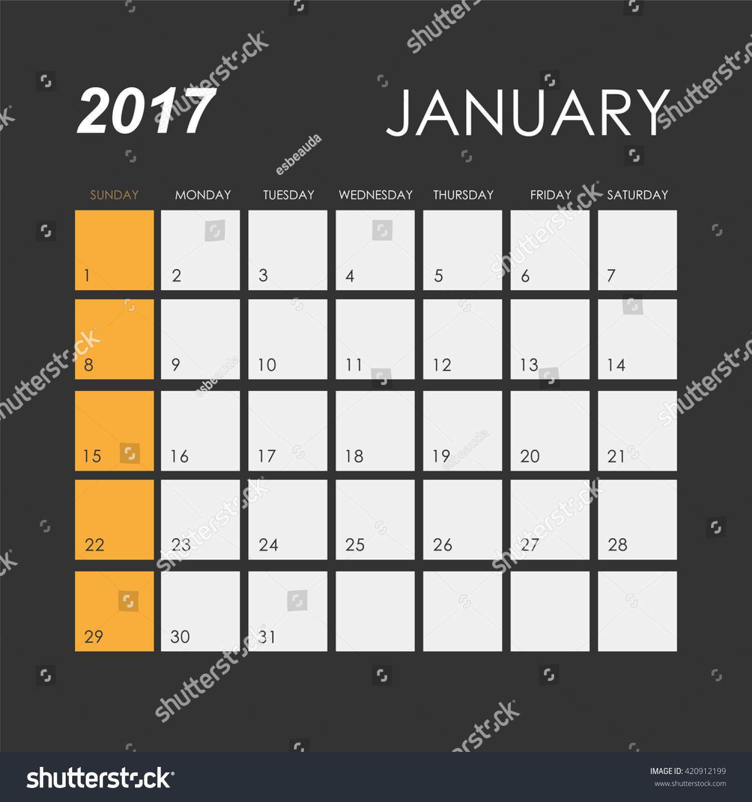 template calendar january 2017 stock vector royalty free 420912199