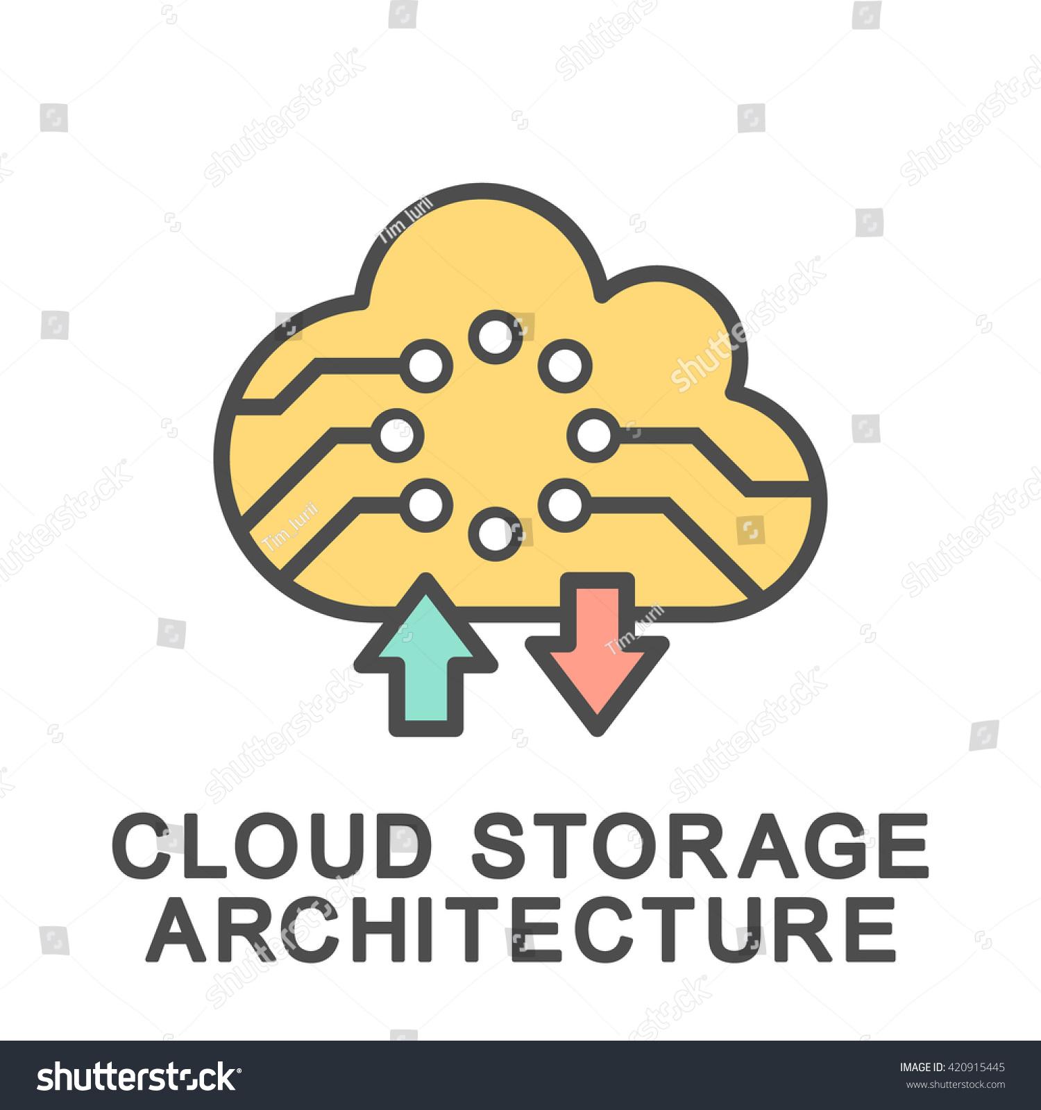 Cloud Storage Architecture Icon The Thin Contour Lines