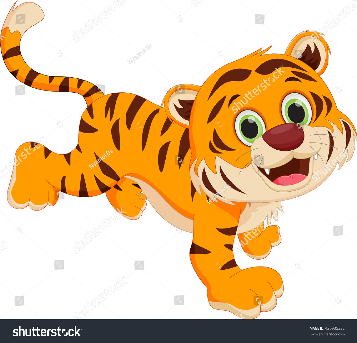 cute cartoon tiger stock vector 420935332 shutterstock