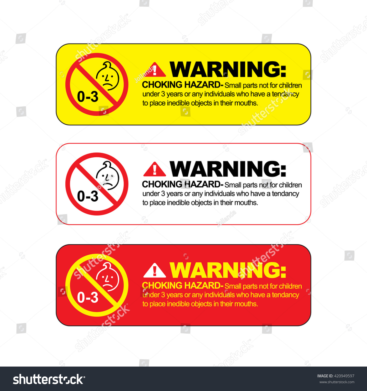 Choking Hazard Warning Vector Sign Warning Stock Vector