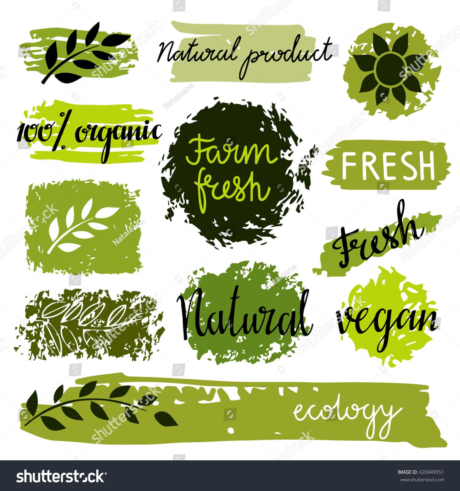 Organic Food Labels Set Bio Eco Stock Vector 420949951 - Shutterstock