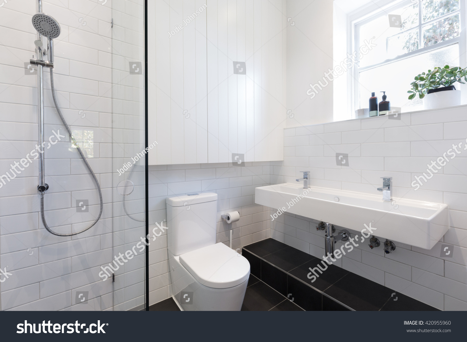 Small Ensuite Bathroom White Tiling Laid Stock Photo (Royalty Free ...