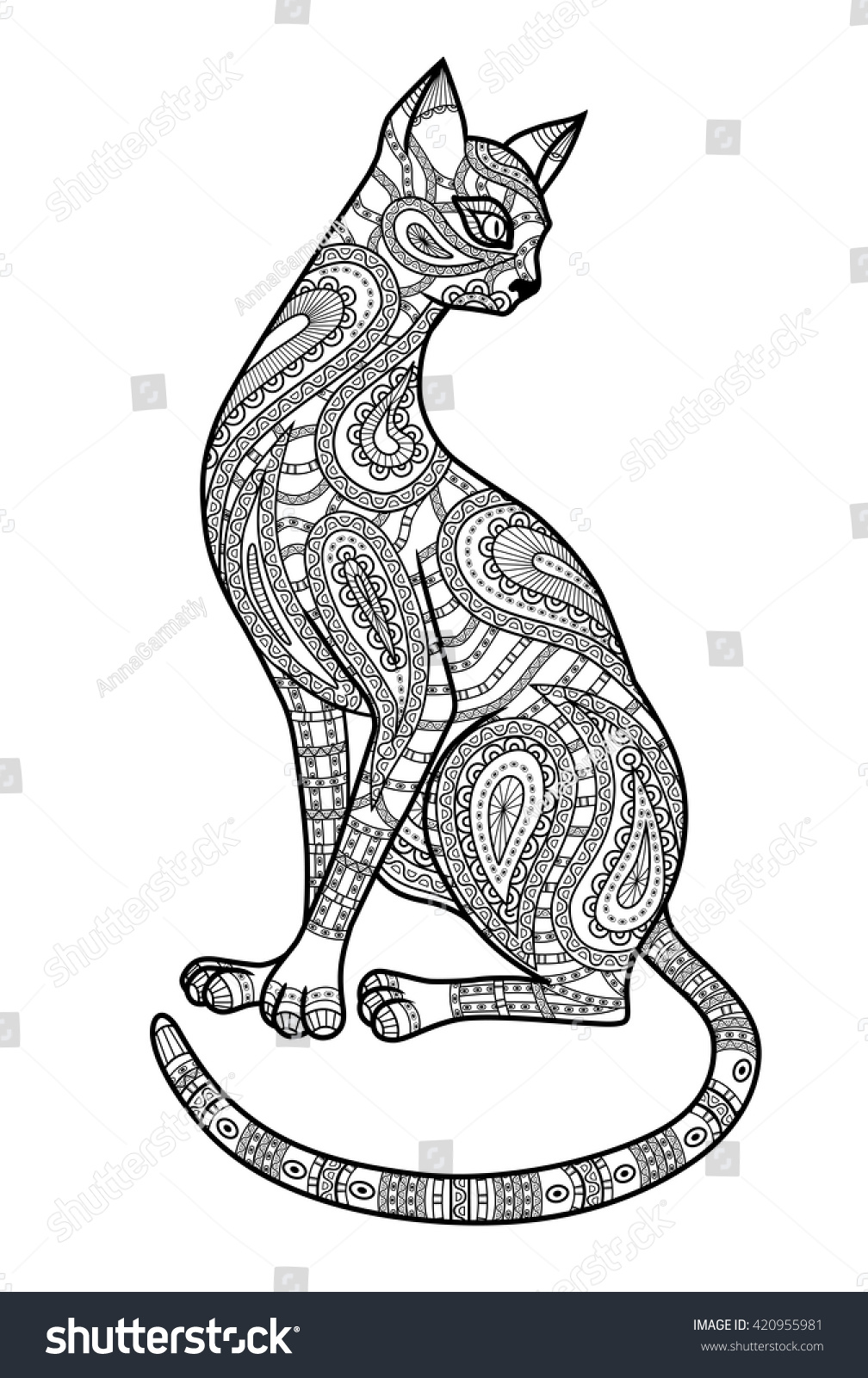 decorative outline cat ornate silhouette template stock vector