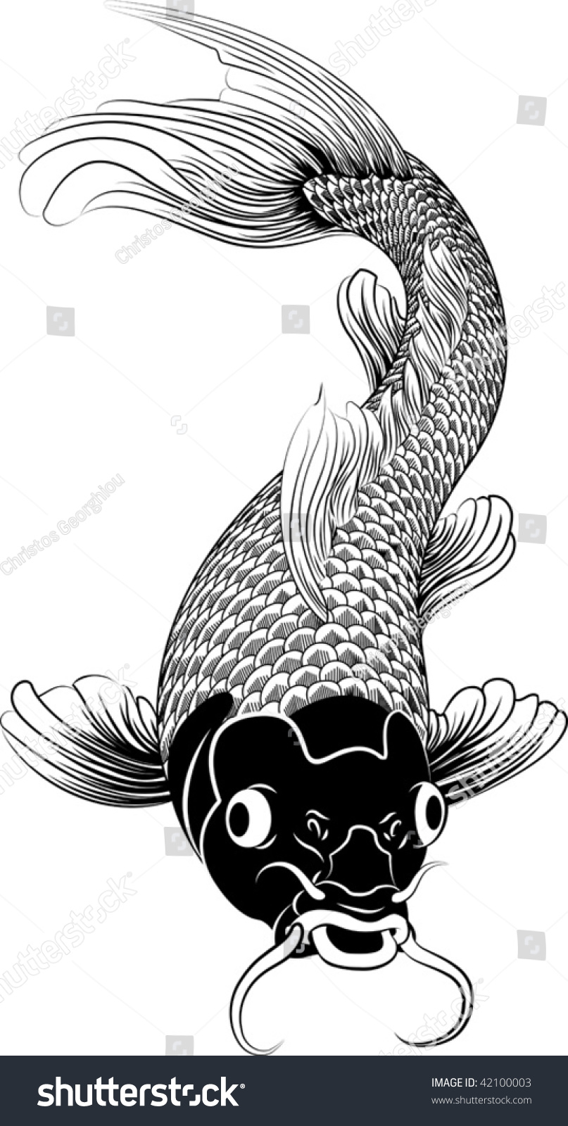 Beautiful black and white vector illustration of a for Black koi carp
