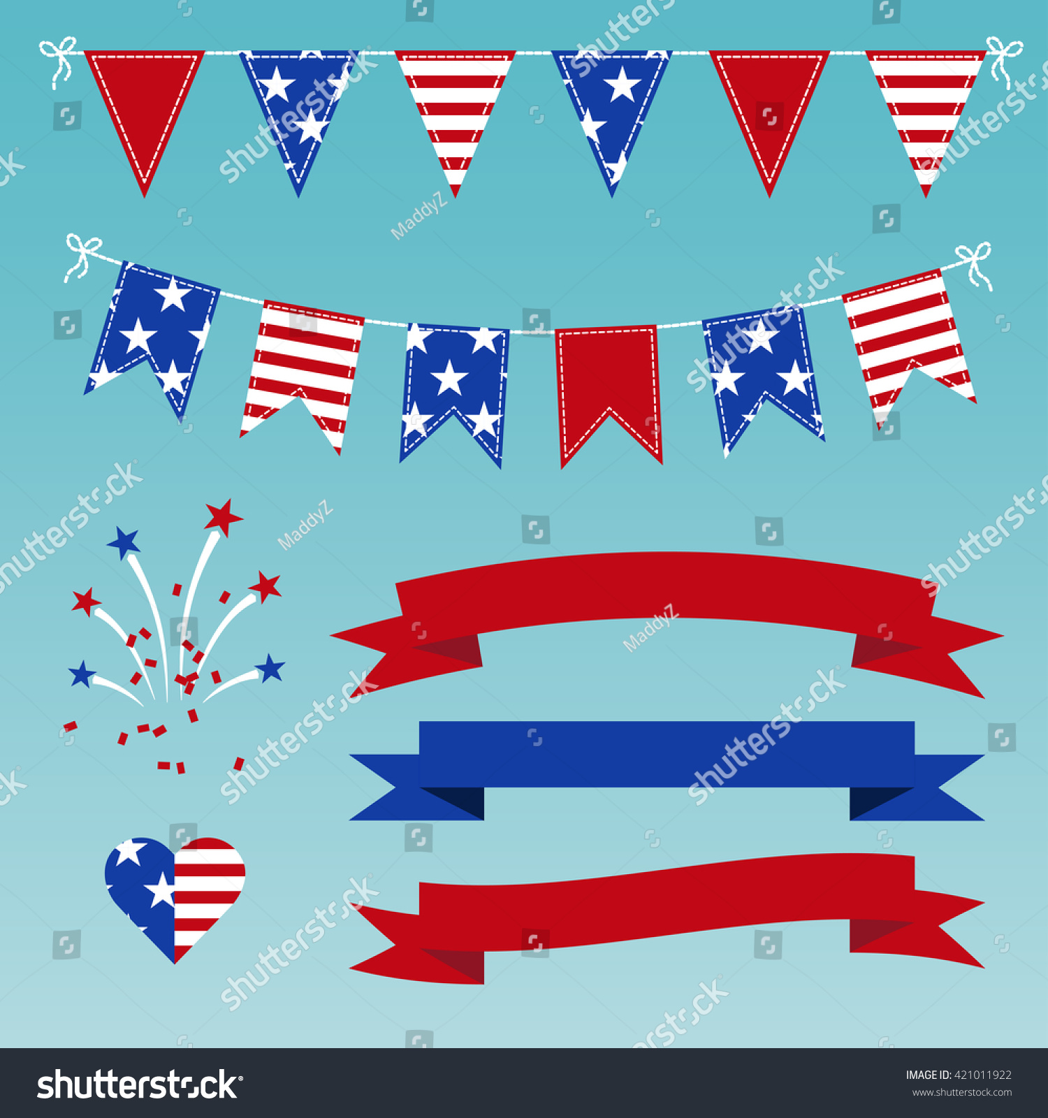 vector set of patriotic bunting flags ribbons fireworks for day on