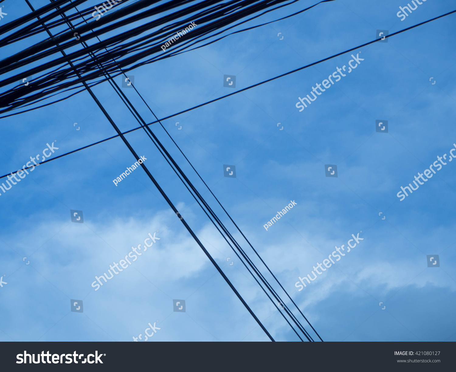 wires pole with blue sky #421080127