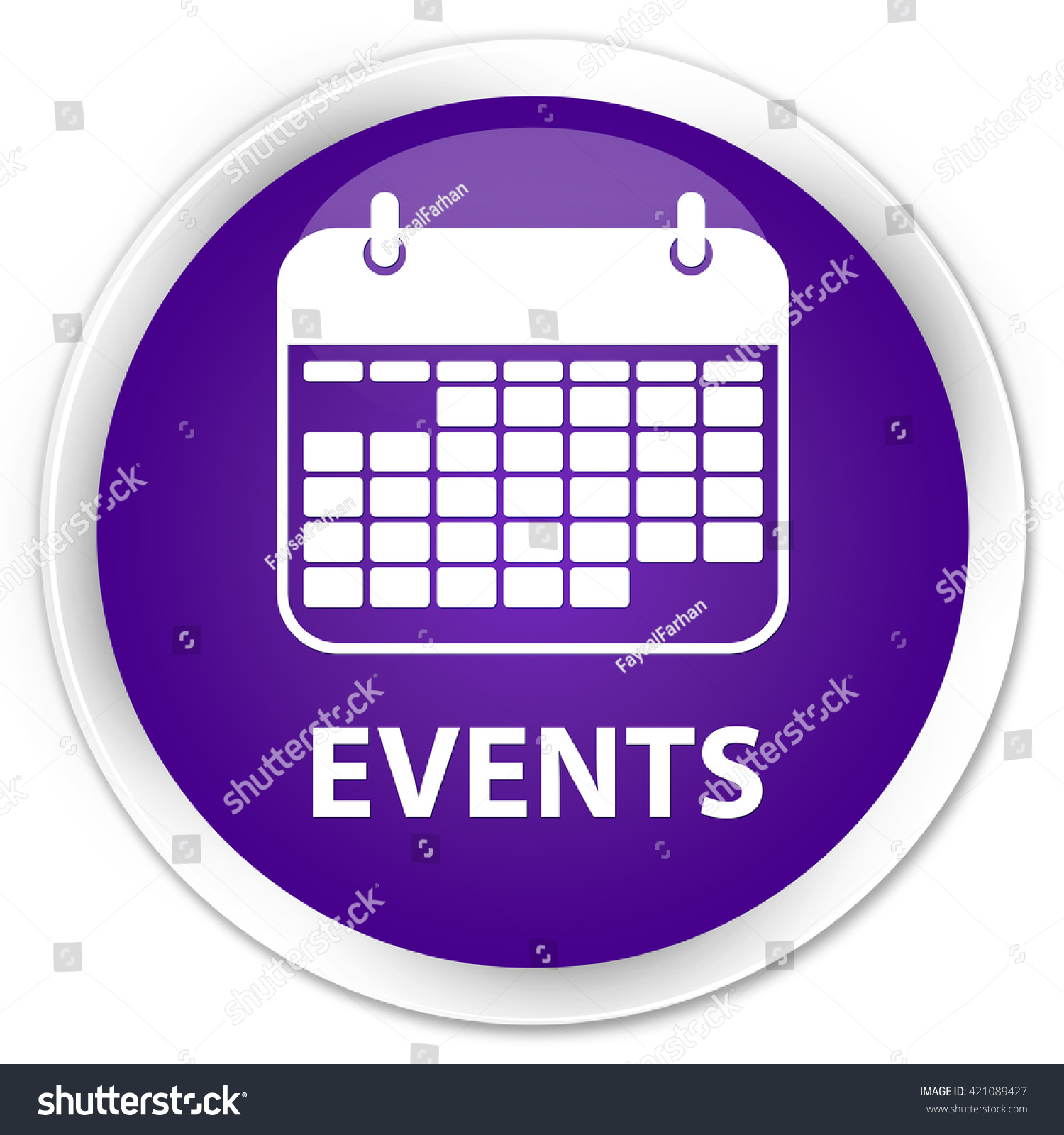 Event Calendar Illustration : Events calendar icon purple glossy round stock