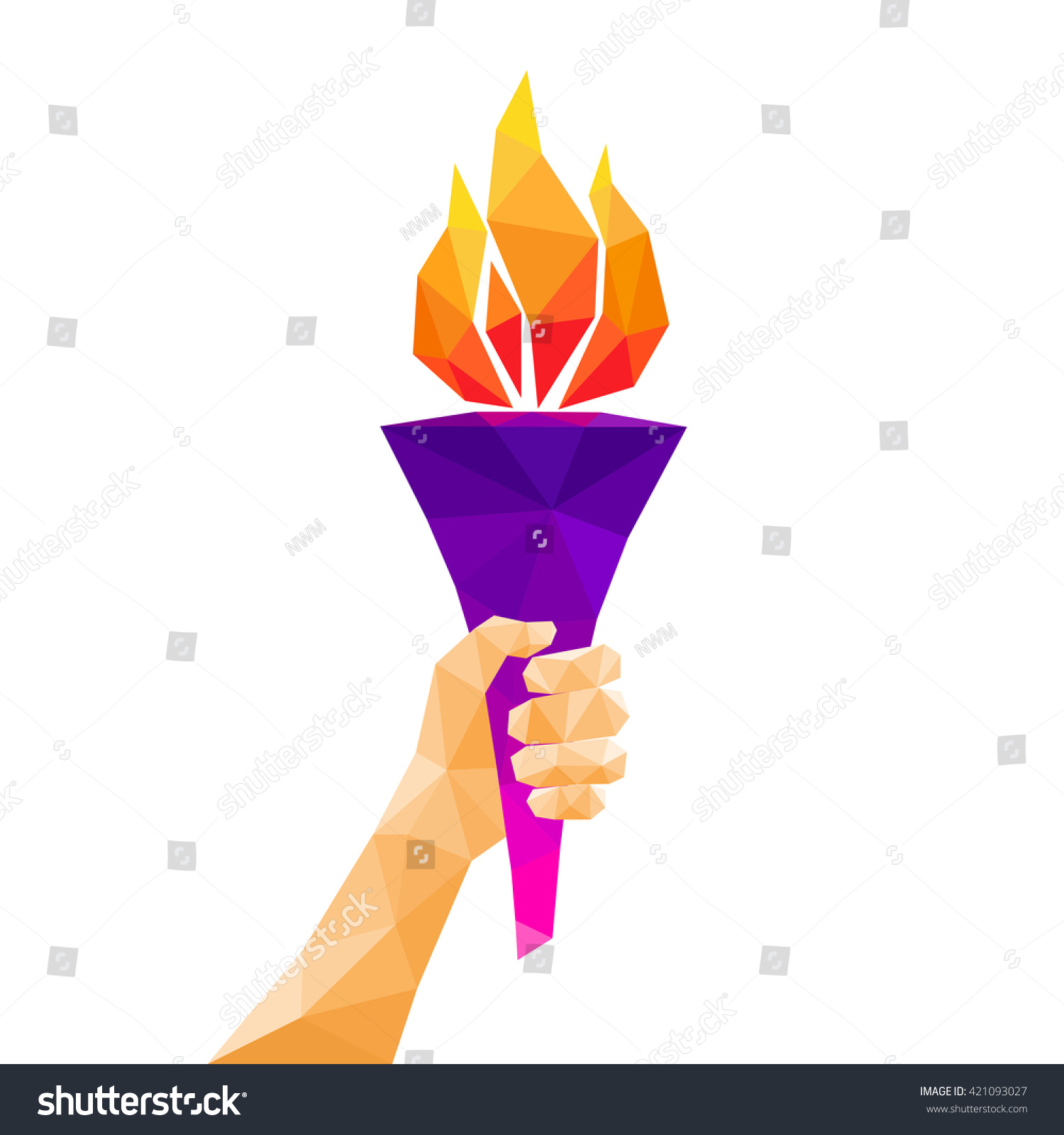 Hand holding torch Low poly abstract geometric design Vector illustration