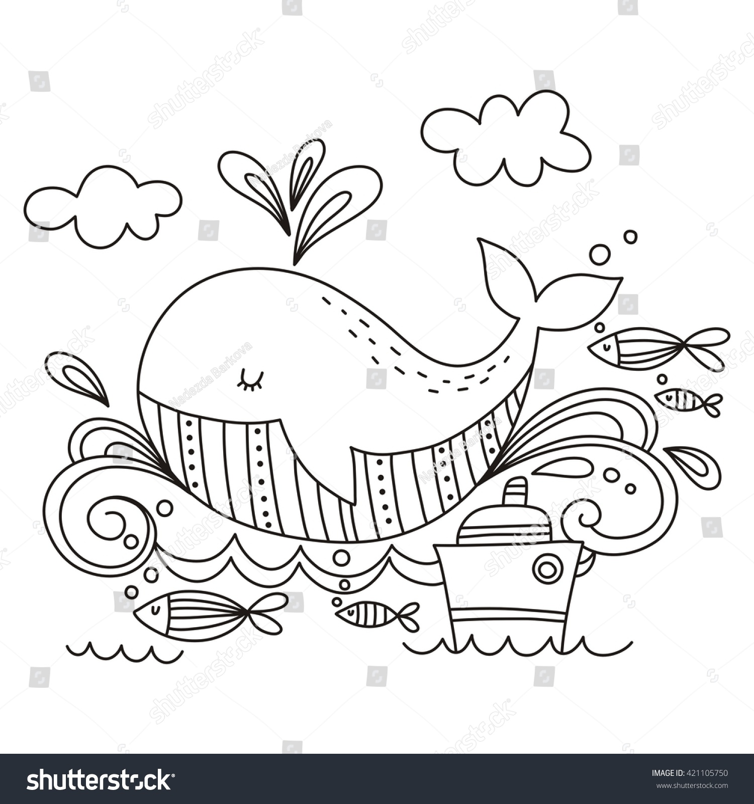 - Coloring Page Cute Whale Stock Vector (Royalty Free) 421105750