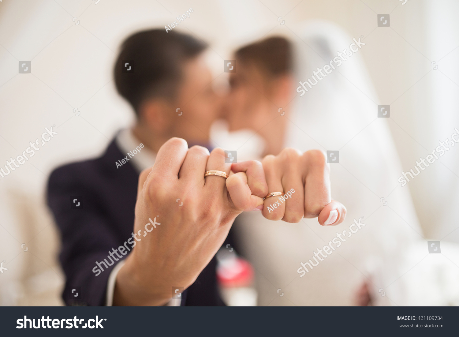 Unfocused Couple Showing Hands Wedding Rings Stock Photo Royalty