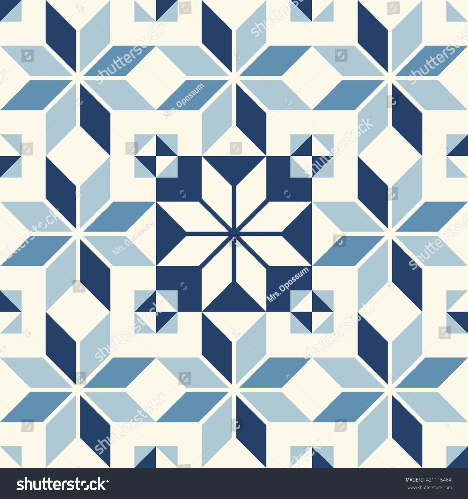 Vintage Seamless Wall Tiles Pattern Stock Vector 421115464 ...