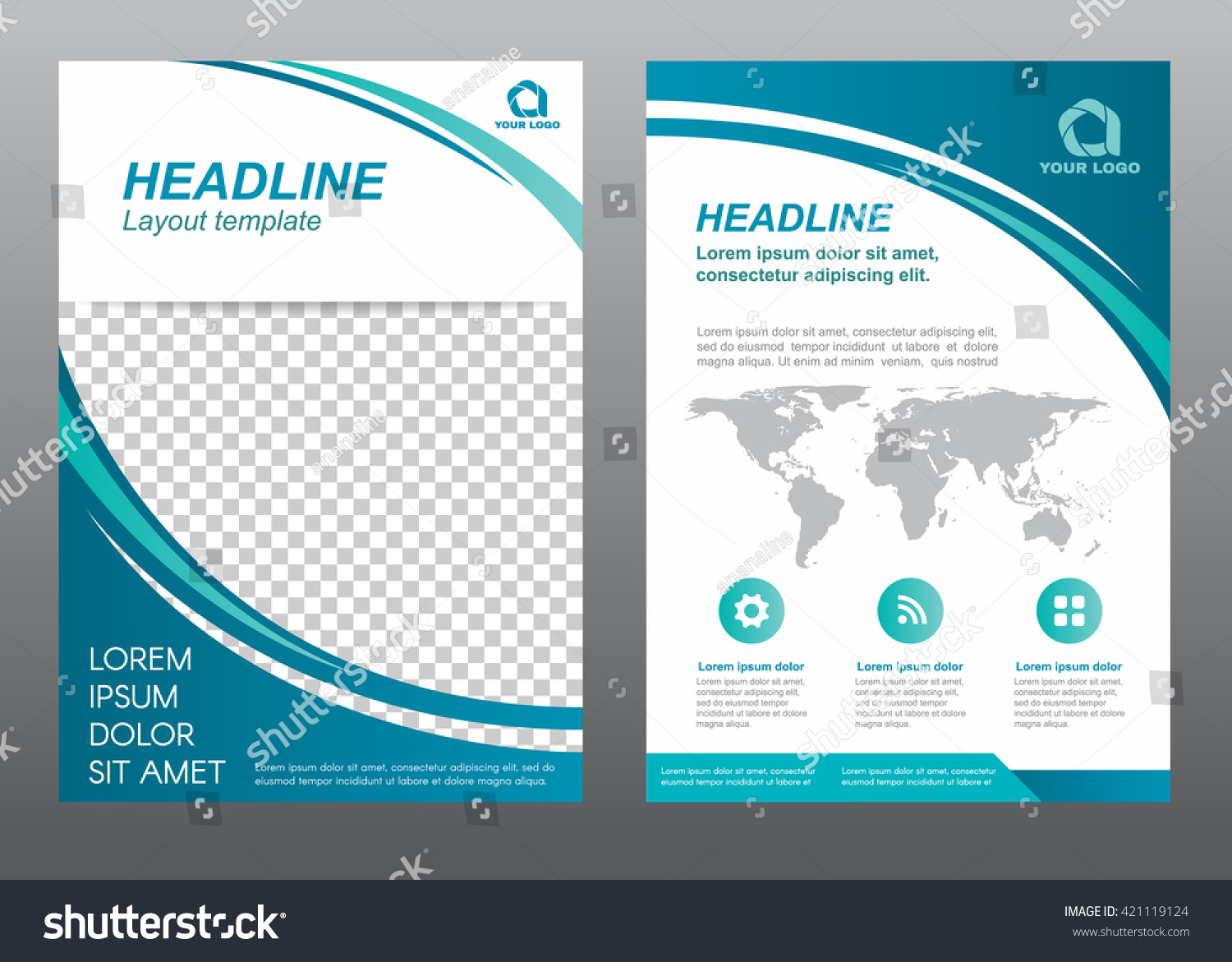 layout flyer template size a cover stock vector  layout flyer template size a4 cover page curve blue tone vector design