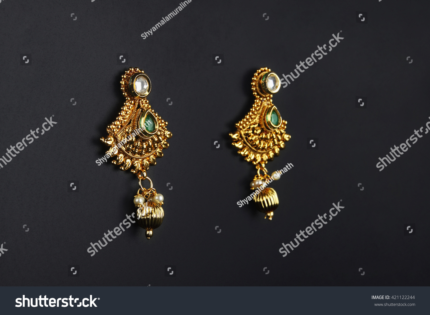 Indian Traditional Gold Earrings Stock Photo 421122244 - Shutterstock