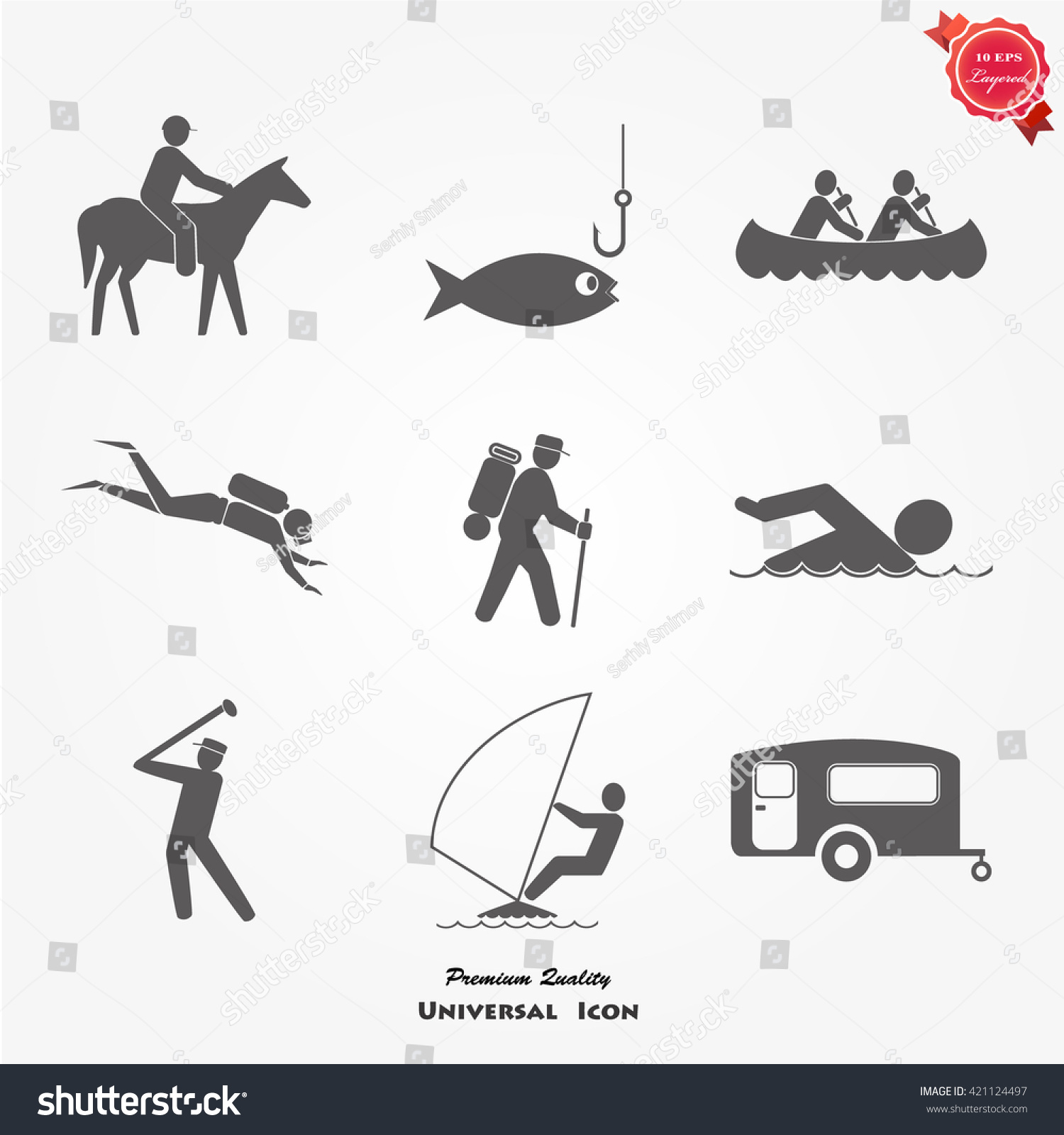 Coloring summer activities - Summer Activities Icons Set Stock Vector 421124497 Shutterstock