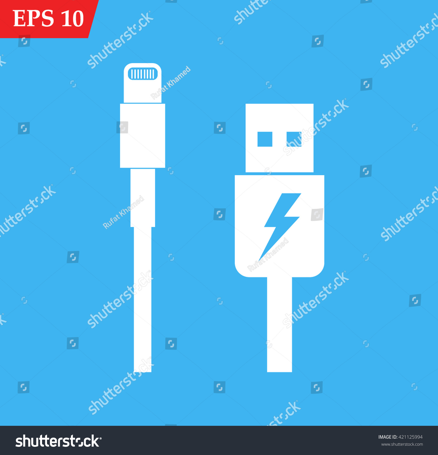 Usb Cable Icon Charger Vector Icon Stock Vector 421125994 - Shutterstock
