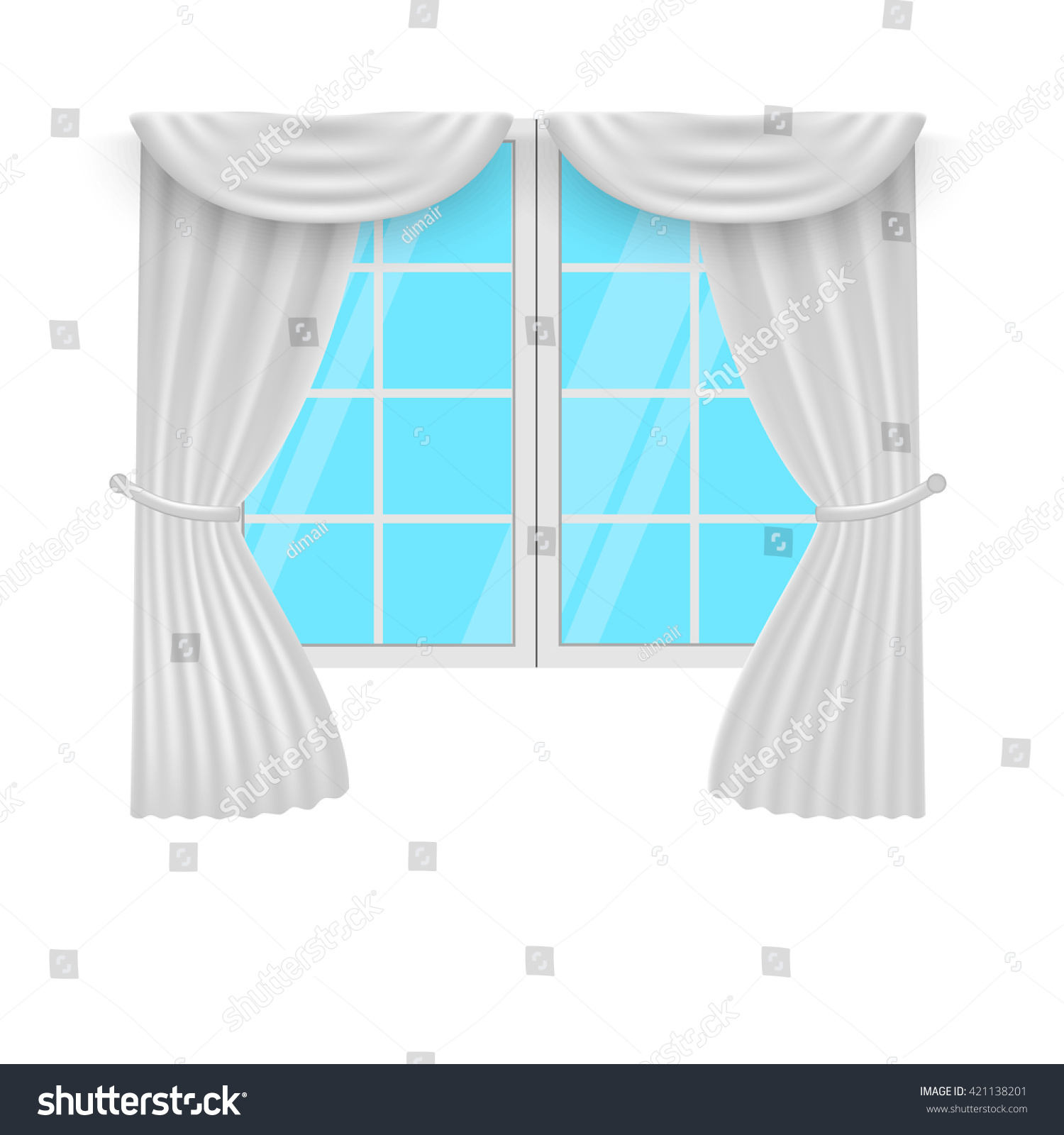 Window Curtains White Curtans Windows Vector Stock Vector ... for Window With Curtains Illustration  54lyp