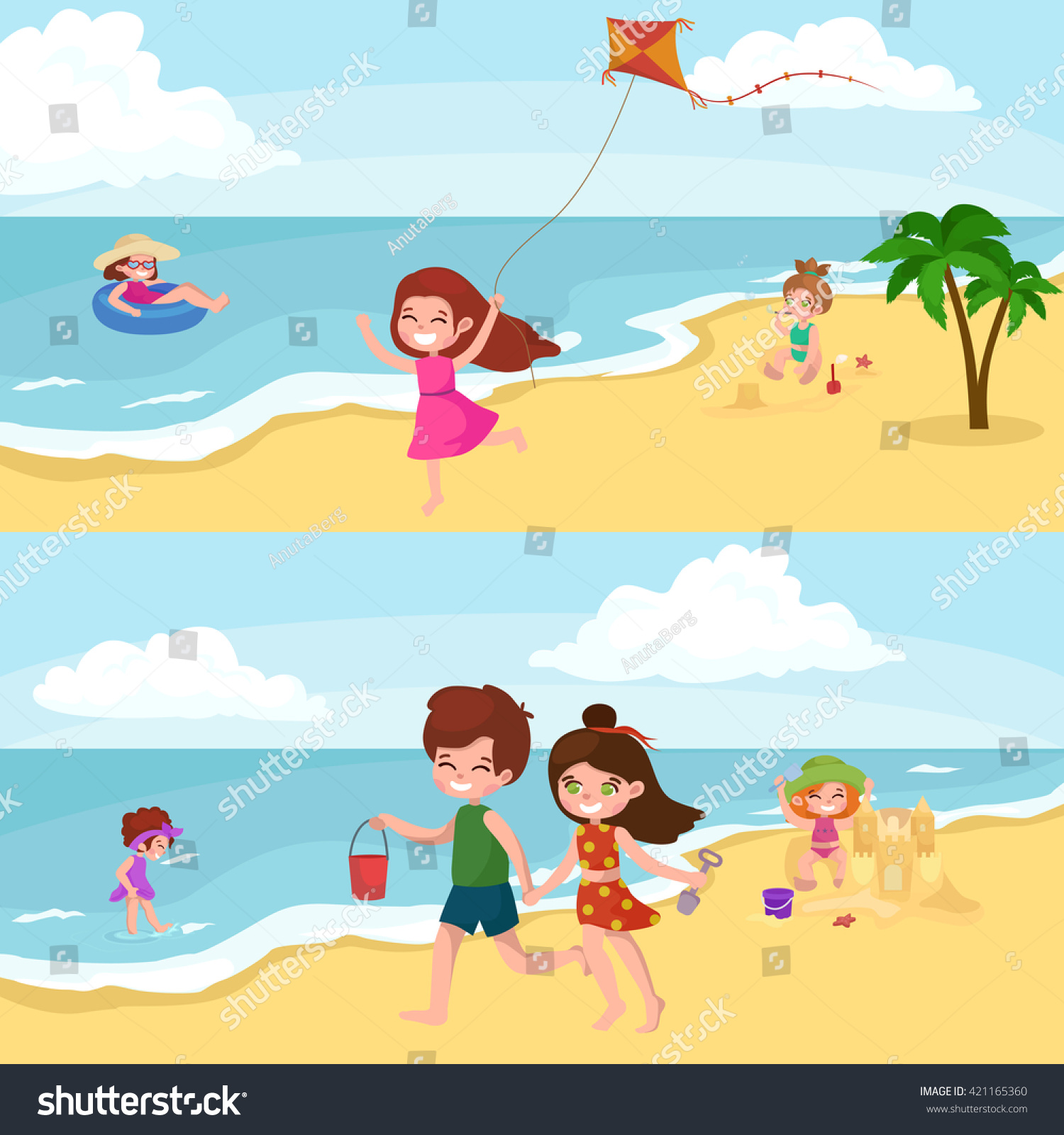 Young Happy Beautiful Family Playing Together On The Beach: Fun At Summer Beach. Happy Cartoon Kids Playing Sand